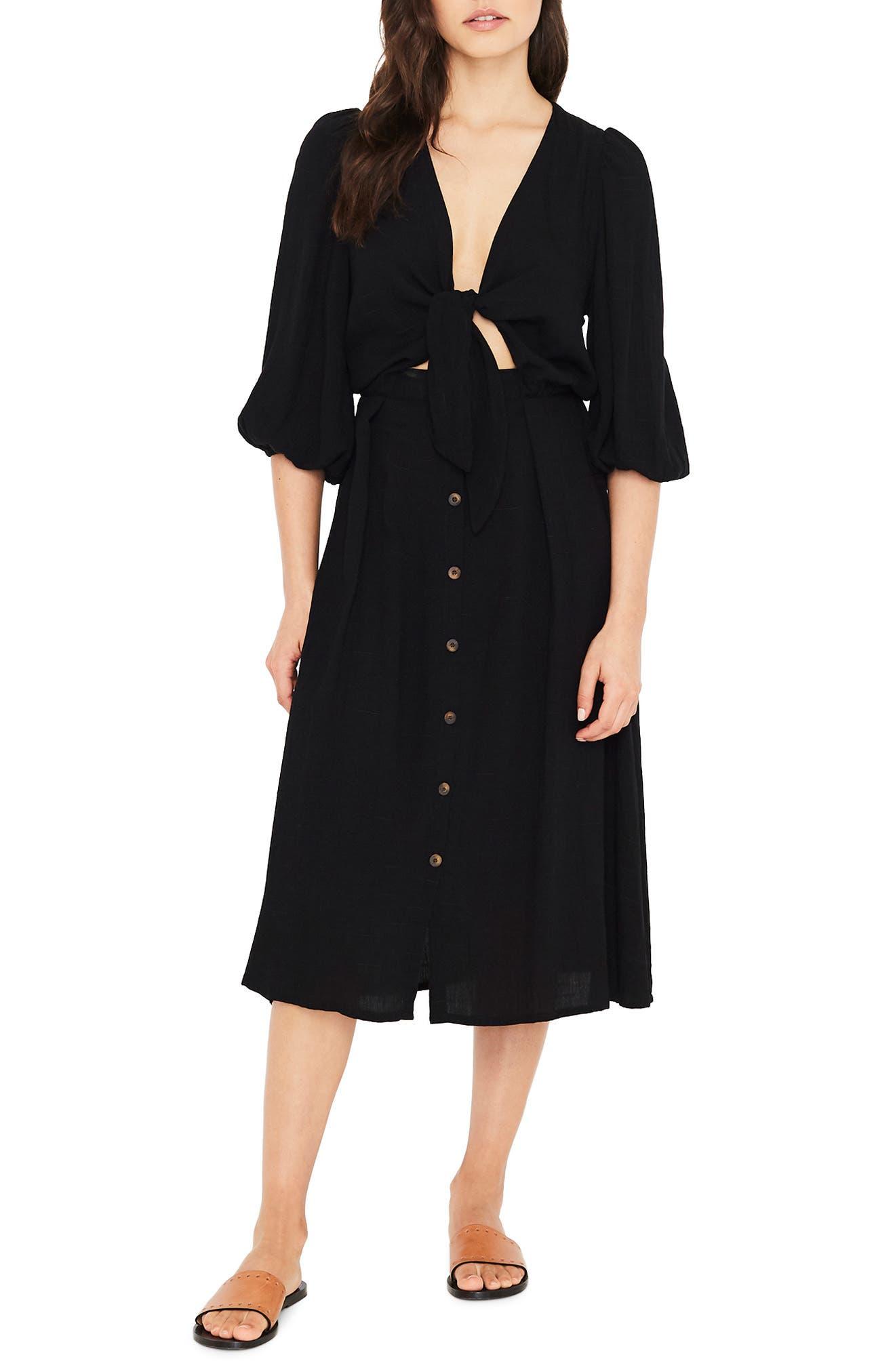 Tobago Tie Front Midi Dress,                         Main,                         color, PLAIN BLACK