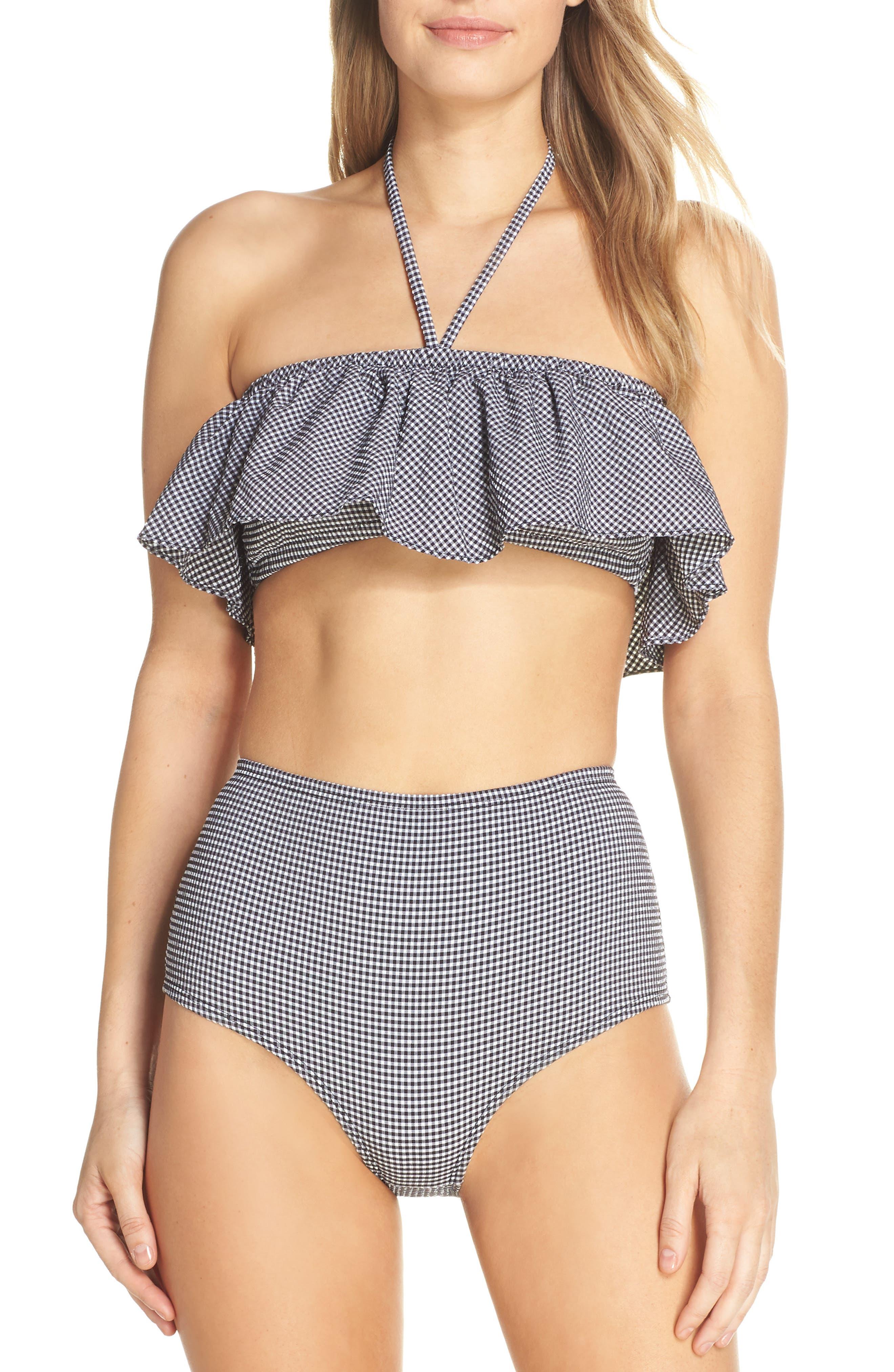 Ruffle Bandeau Bikini Top,                             Alternate thumbnail 8, color,                             003