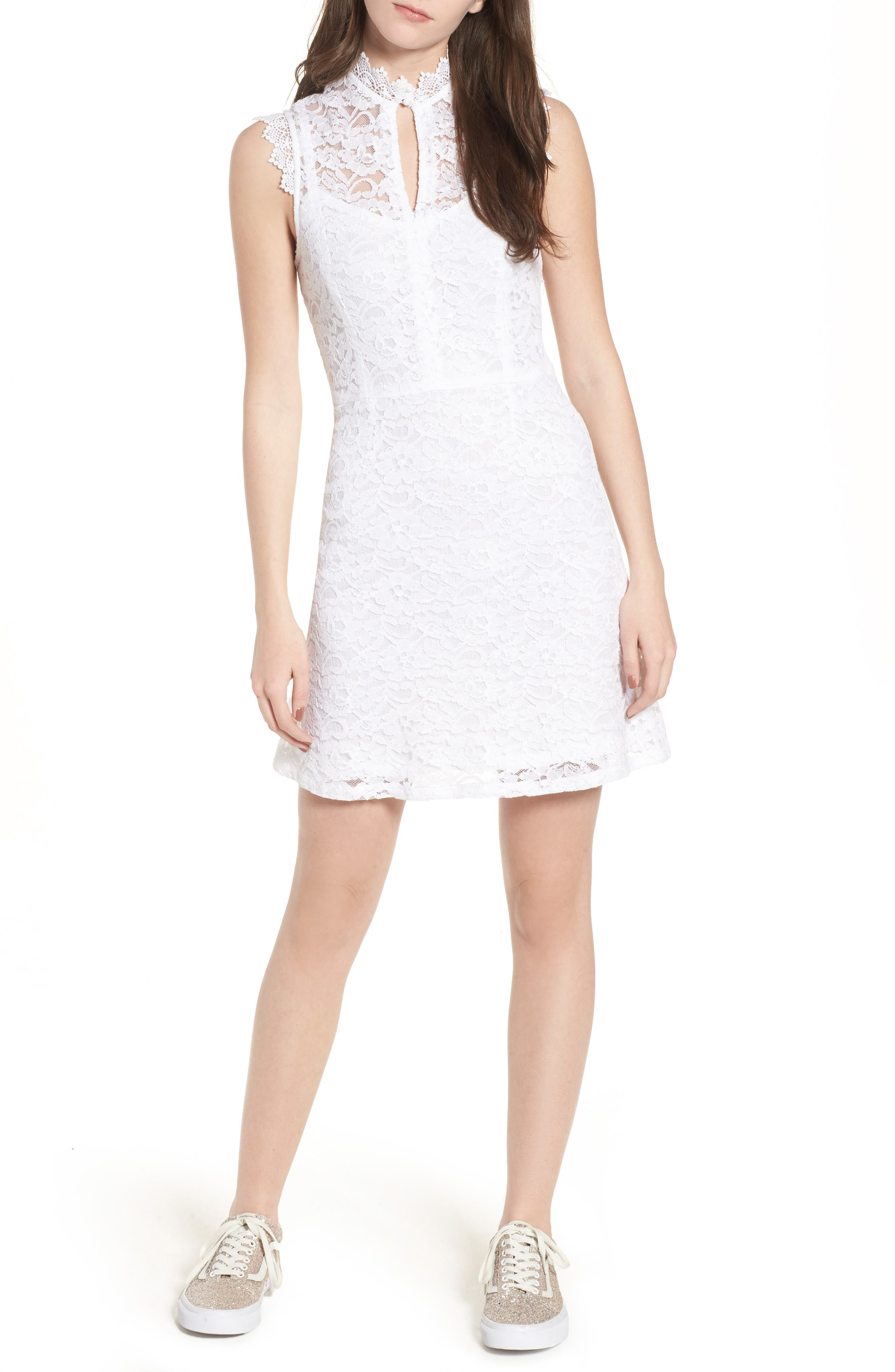 Rapture Lace Keyhole Dress,                         Main,                         color, 100