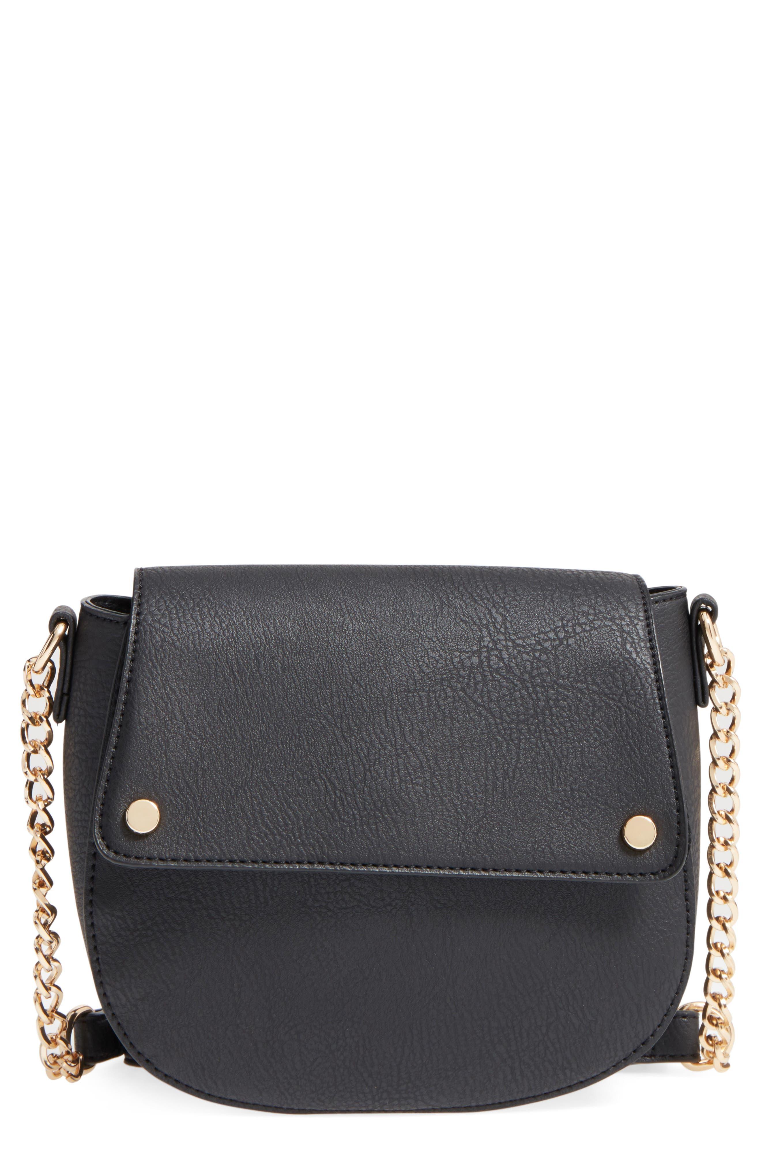 Faux Leather Saddle Flap Crossbody Bag, Main, color, 001