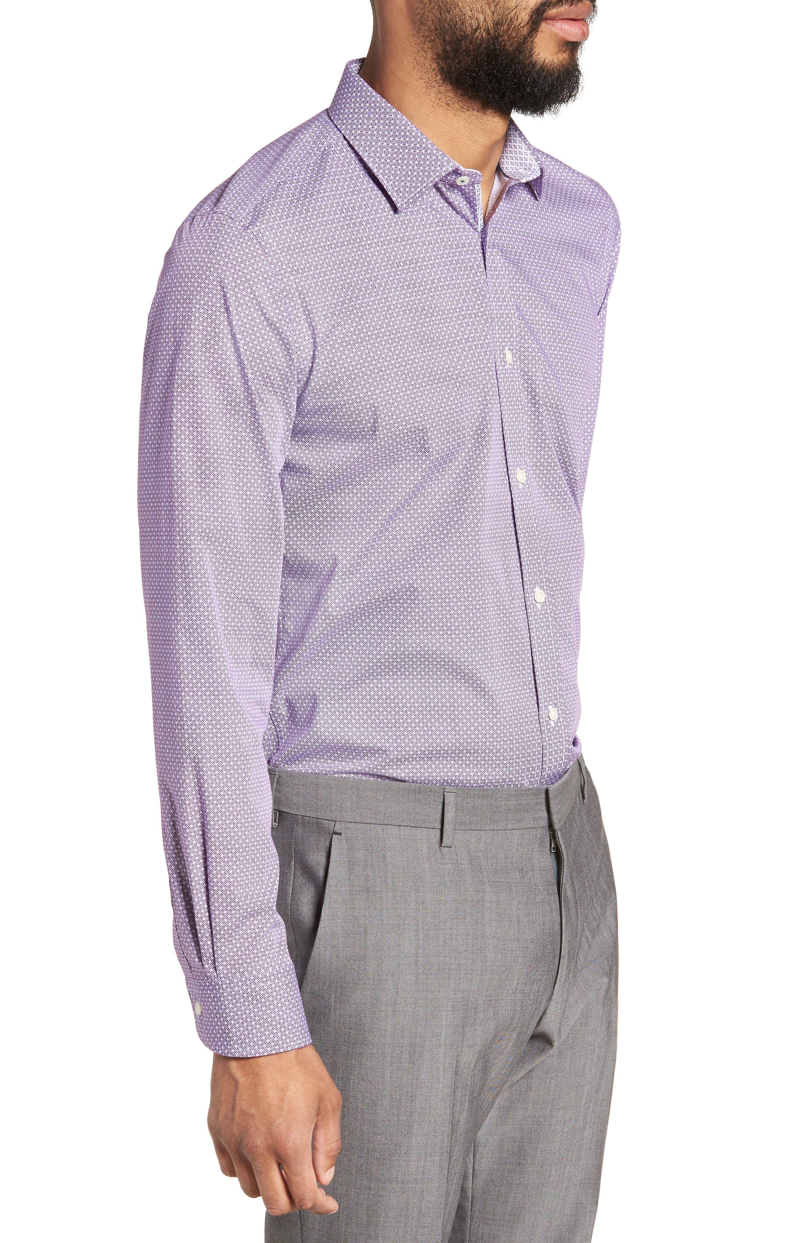 Rugber Slim Fit Print Dress Shirt,                             Alternate thumbnail 4, color,                             PURPLE