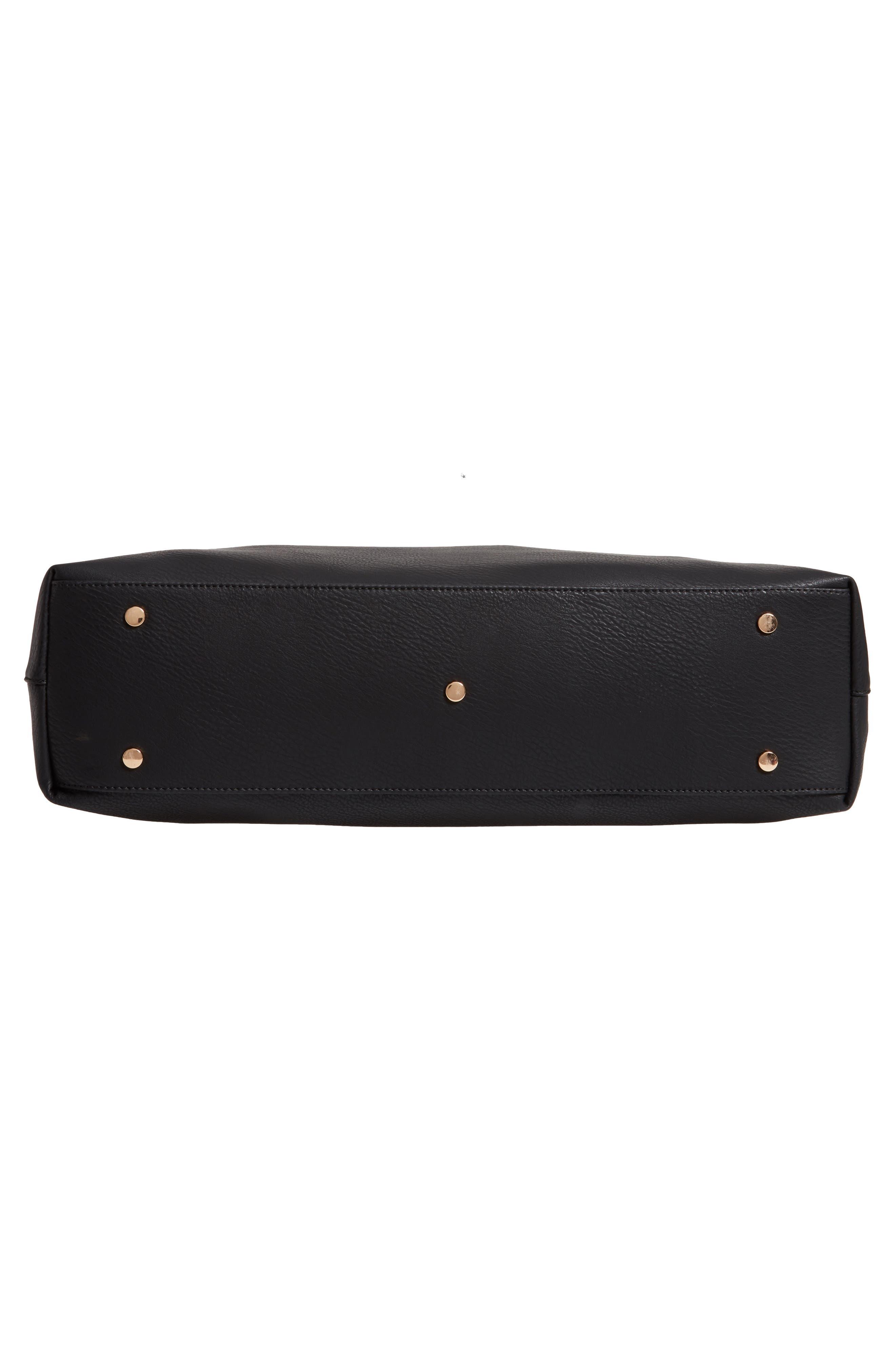 Grant Faux Leather Weekend Bag,                             Alternate thumbnail 6, color,                             BLACK