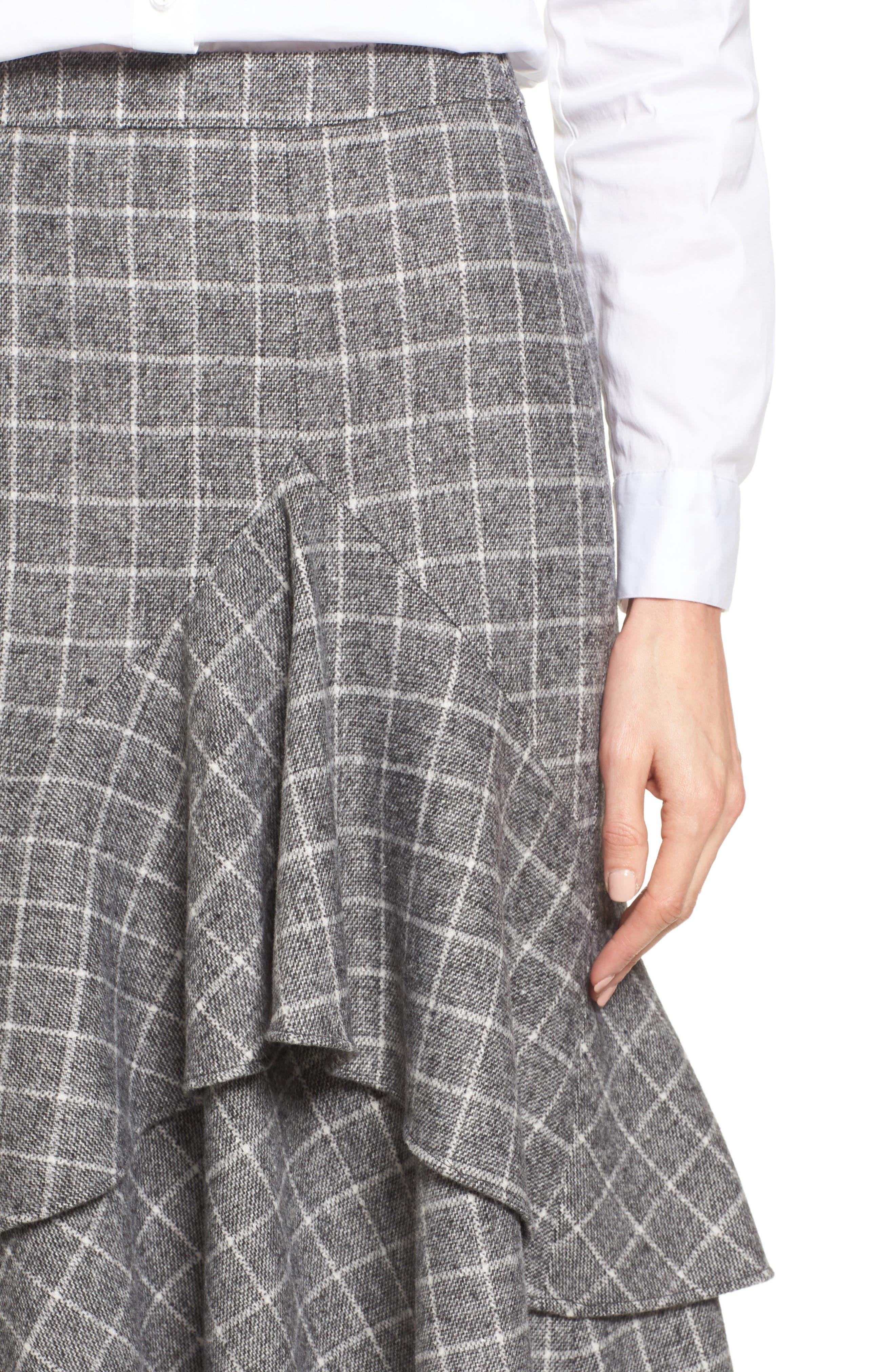 Windowpane Print Ruffle Skirt,                             Alternate thumbnail 4, color,                             001