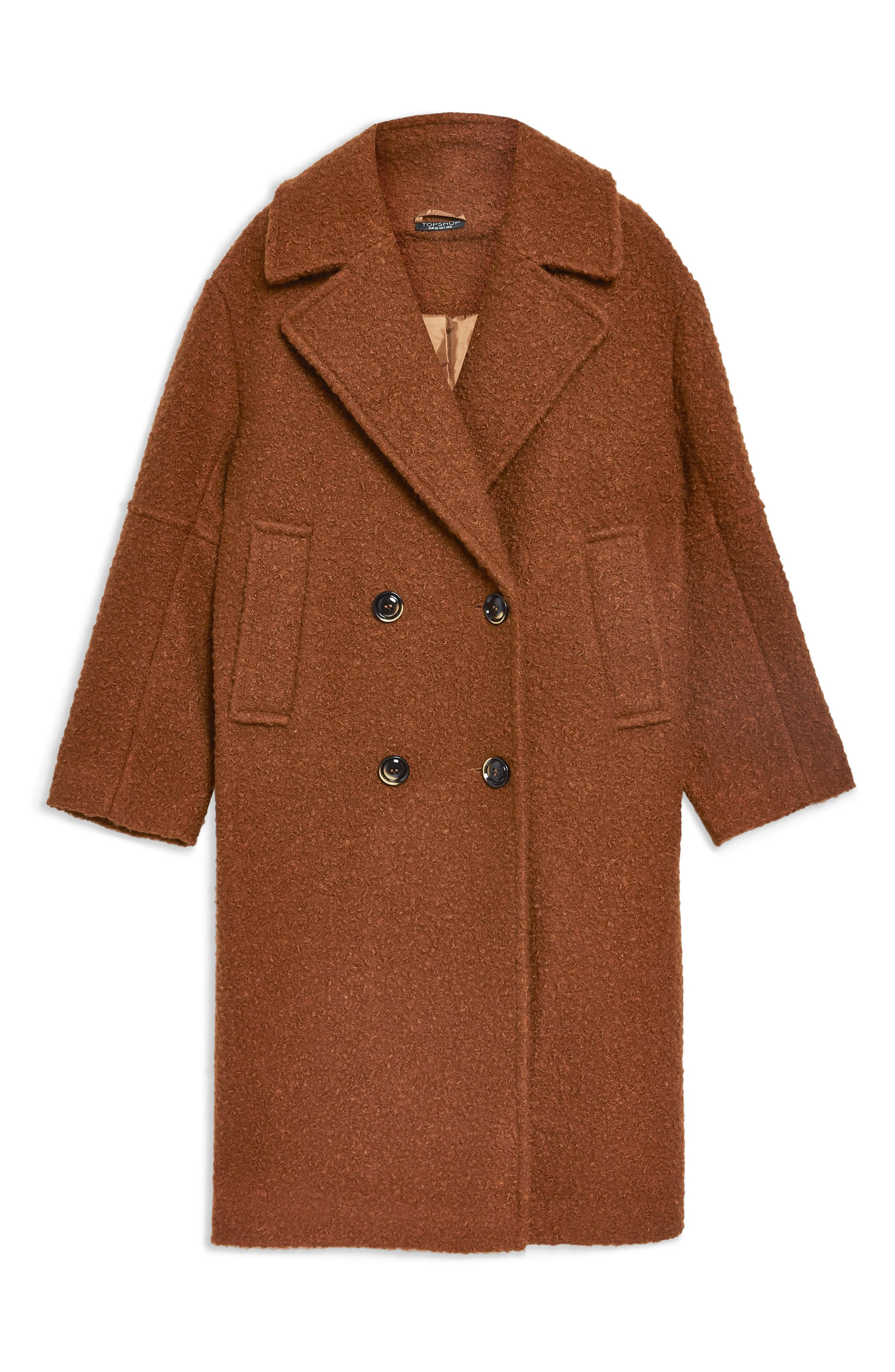 Bouclé Button Front Coat,                             Alternate thumbnail 6, color,                             BROWN