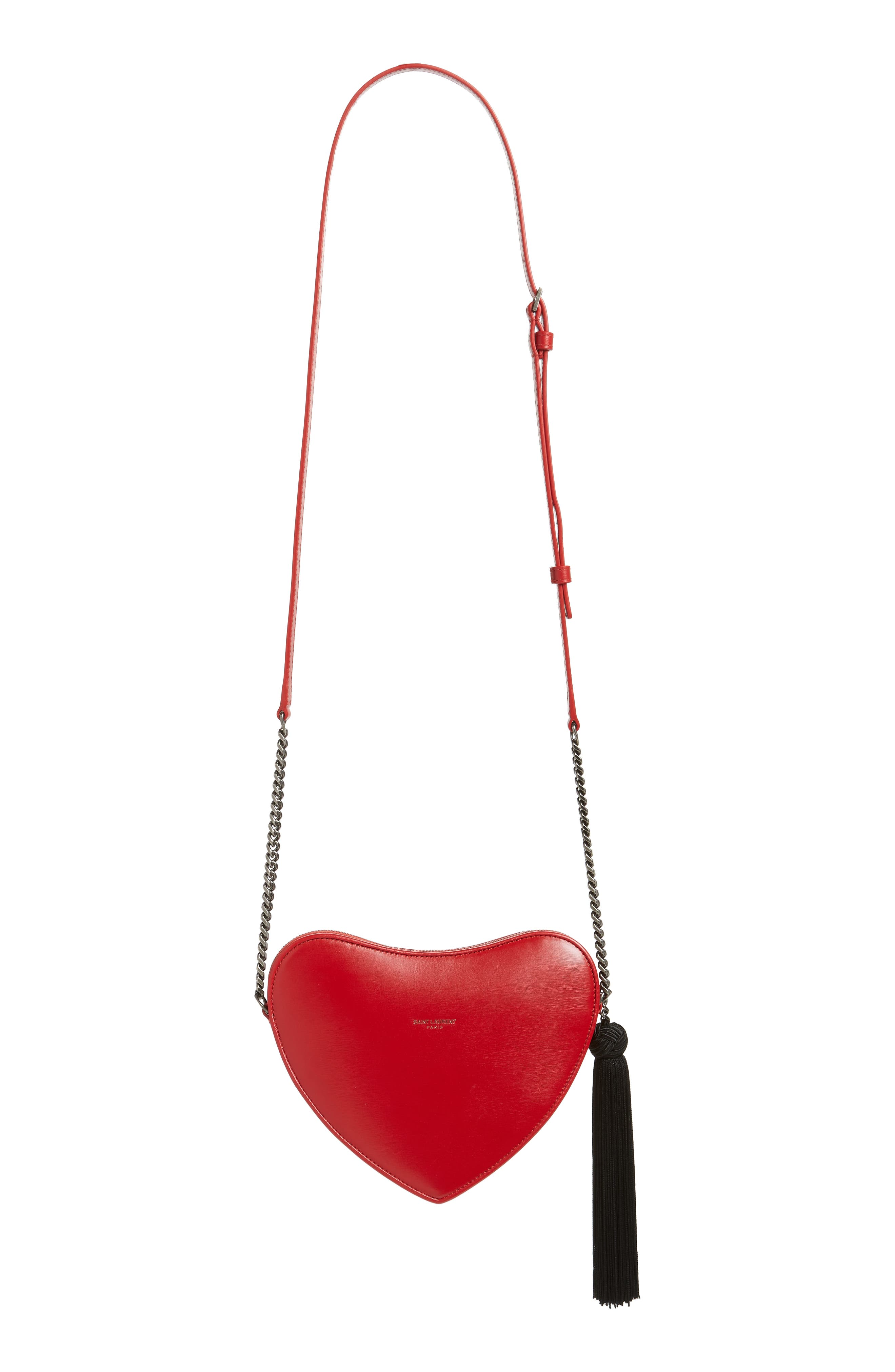 Sac Coeur Leather Crossbody Bag,                             Alternate thumbnail 3, color,                             BANDANA RED/ NOIR