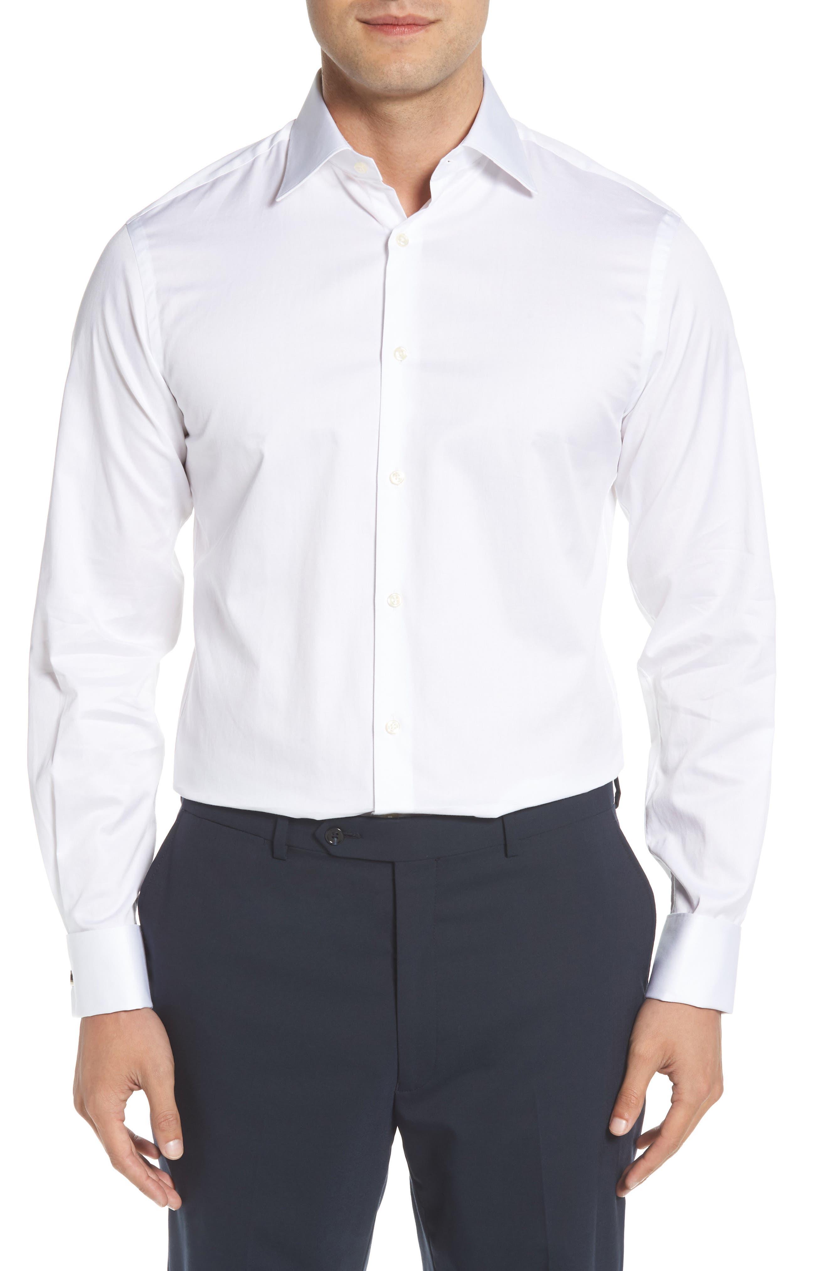 Regular Fit Solid Dress Shirt,                         Main,                         color, 100