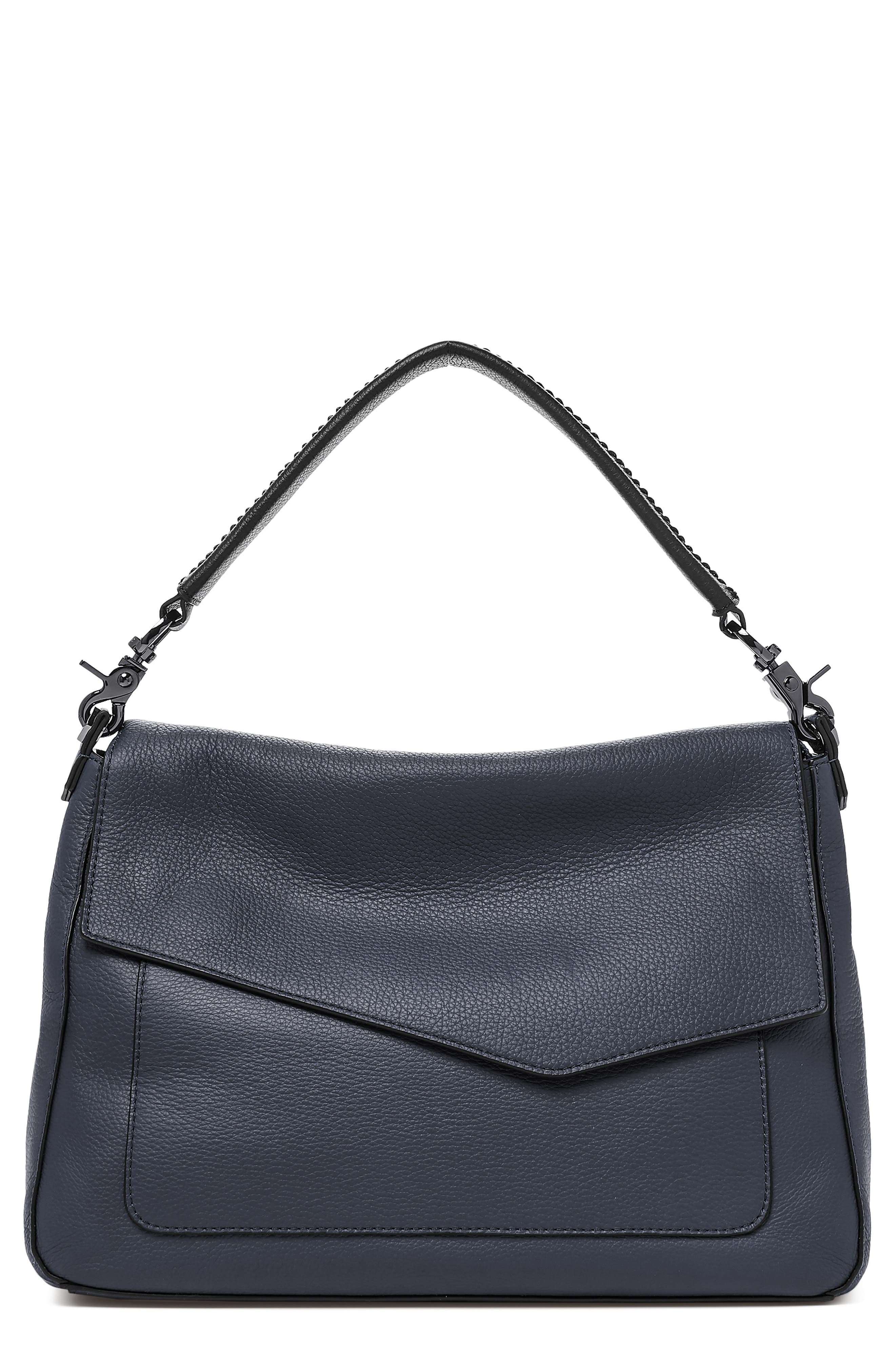 Cobble Hill Slouch Calfskin Leather Hobo,                             Main thumbnail 1, color,                             WINTER NAVY