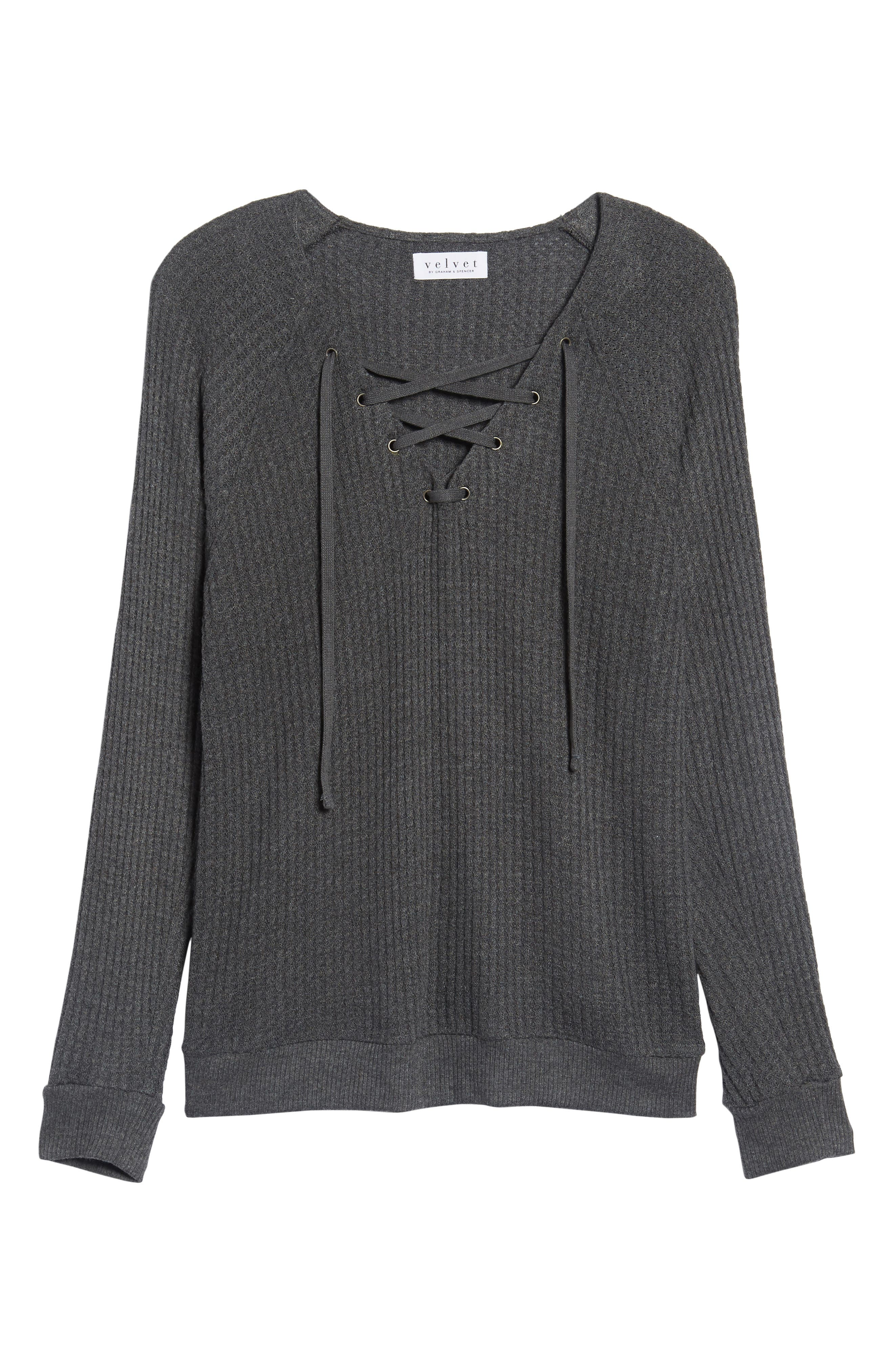 Thermal Knit Lace-Up Top,                             Alternate thumbnail 6, color,                             026
