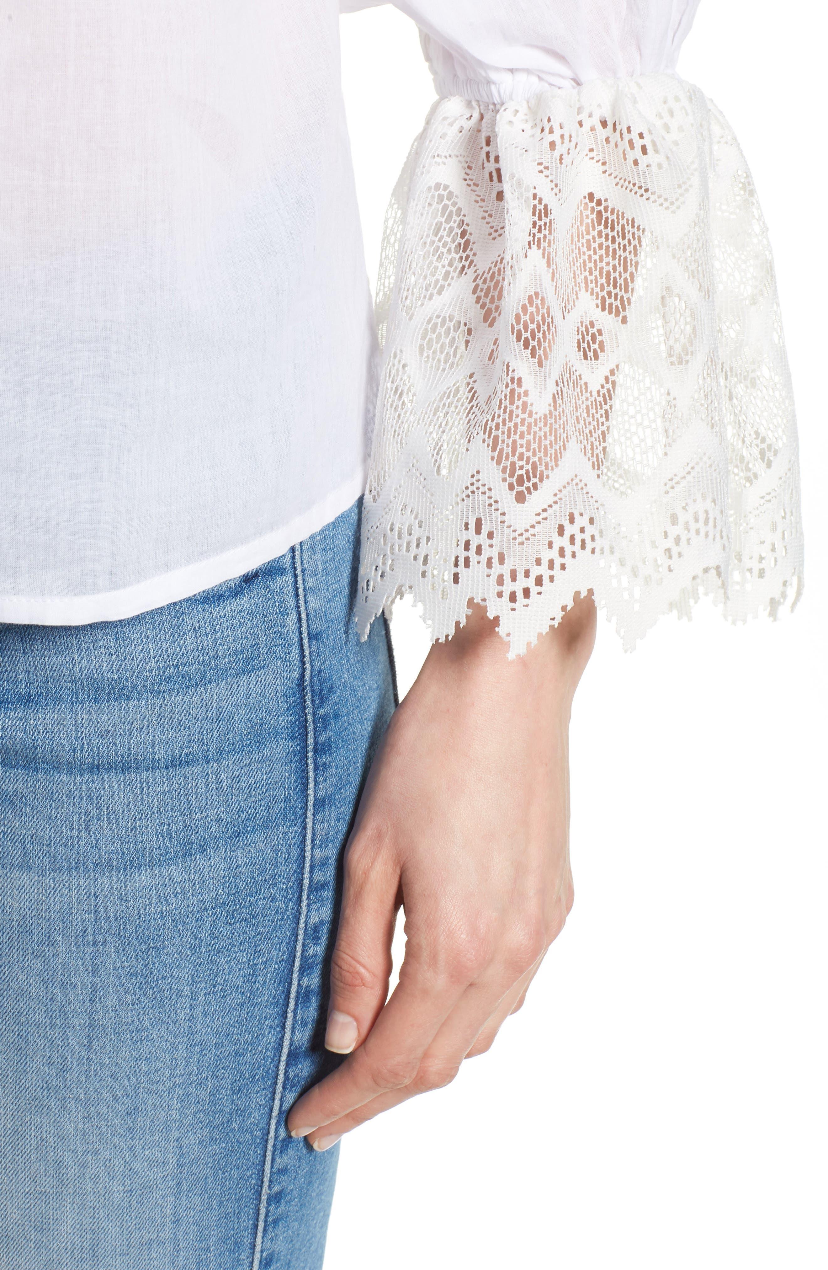 Berkley White Lace Cotton Blend Top,                             Alternate thumbnail 4, color,                             WHITE
