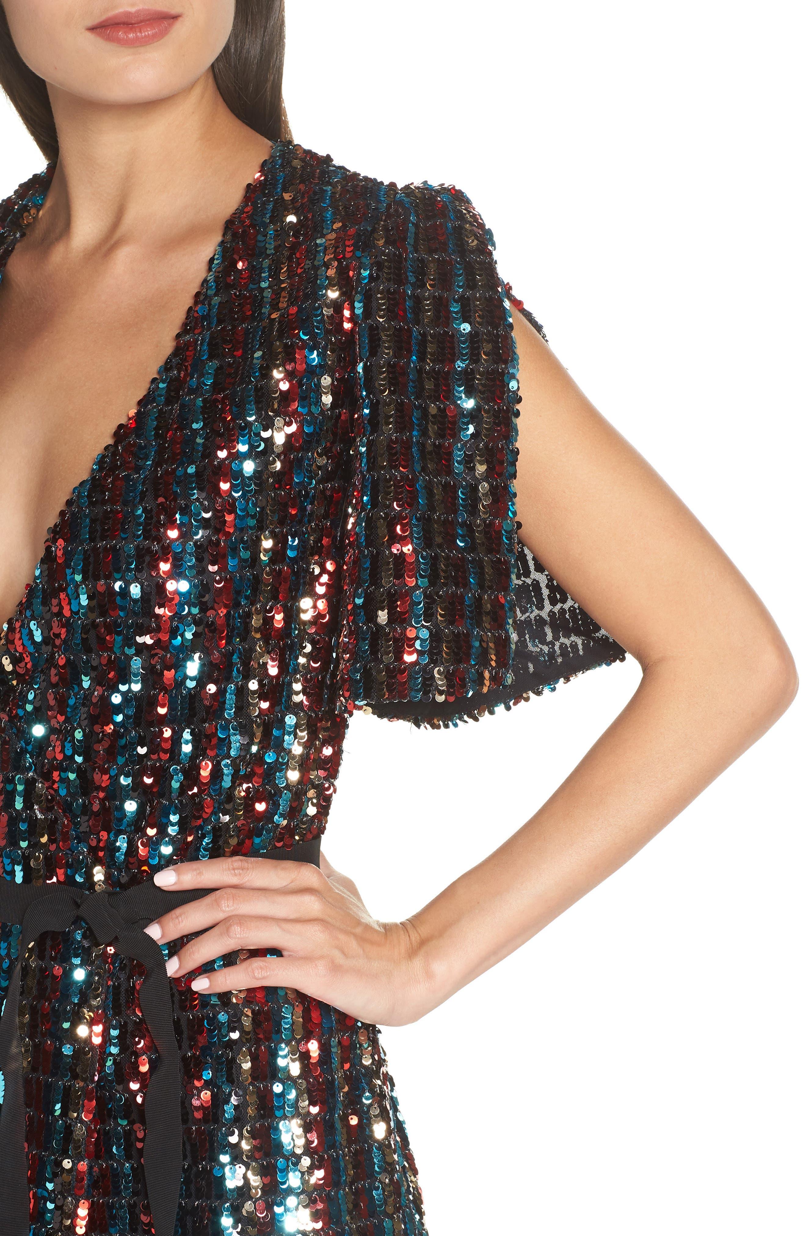 Multicolor Sequin Wrap Dress,                             Alternate thumbnail 4, color,                             MERLOT GOLD