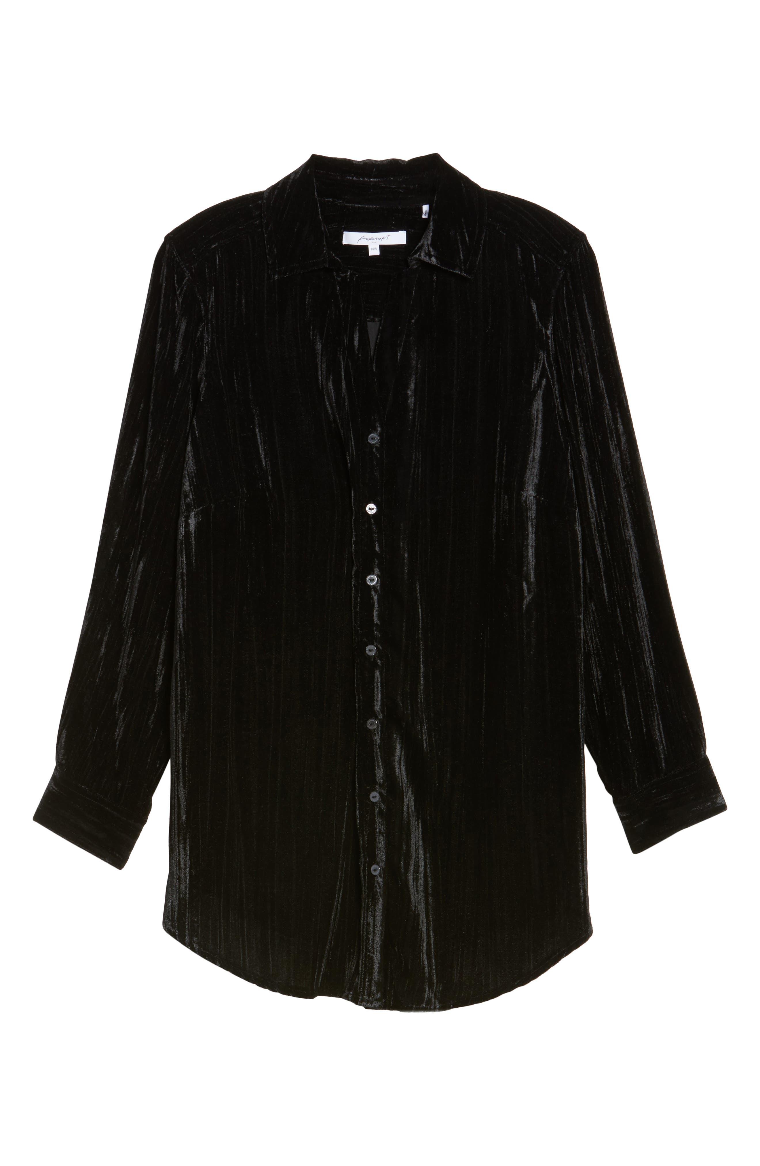 Ivy Broomstick Velvet Shirt,                             Alternate thumbnail 6, color,                             001