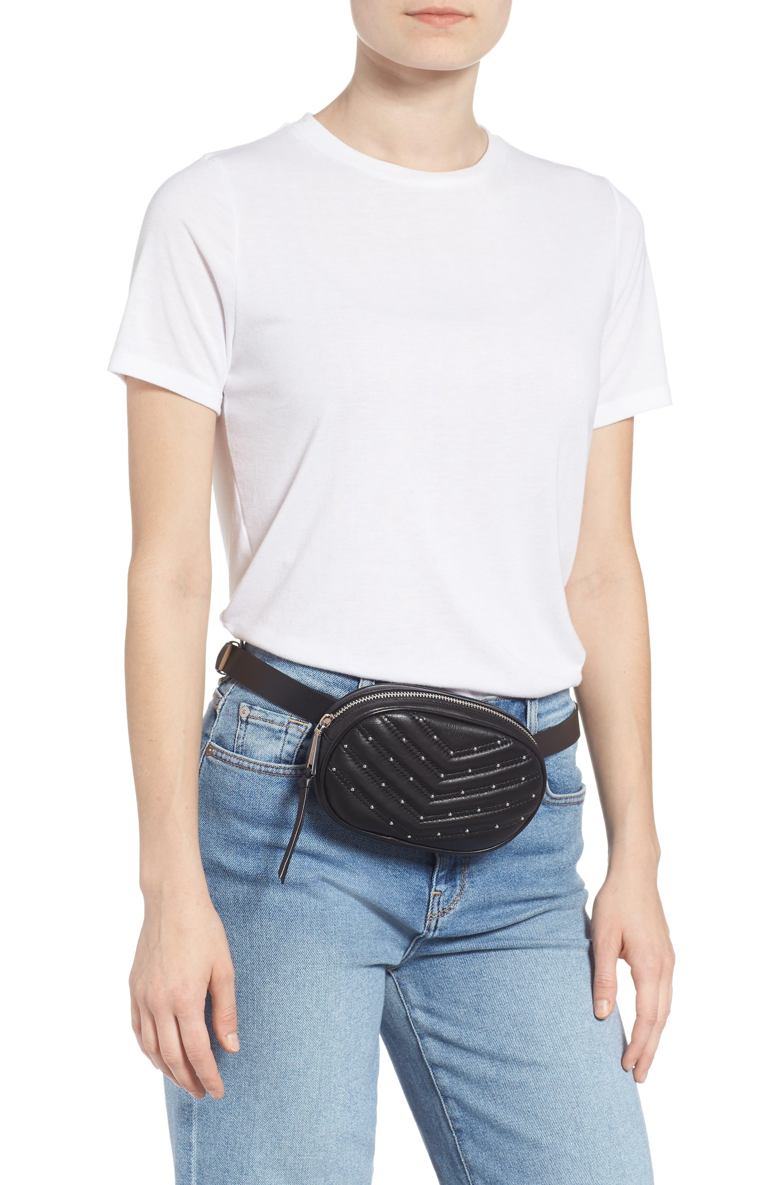 Montse Quilted Leather Belt Beg,                             Alternate thumbnail 2, color,                             BLACK