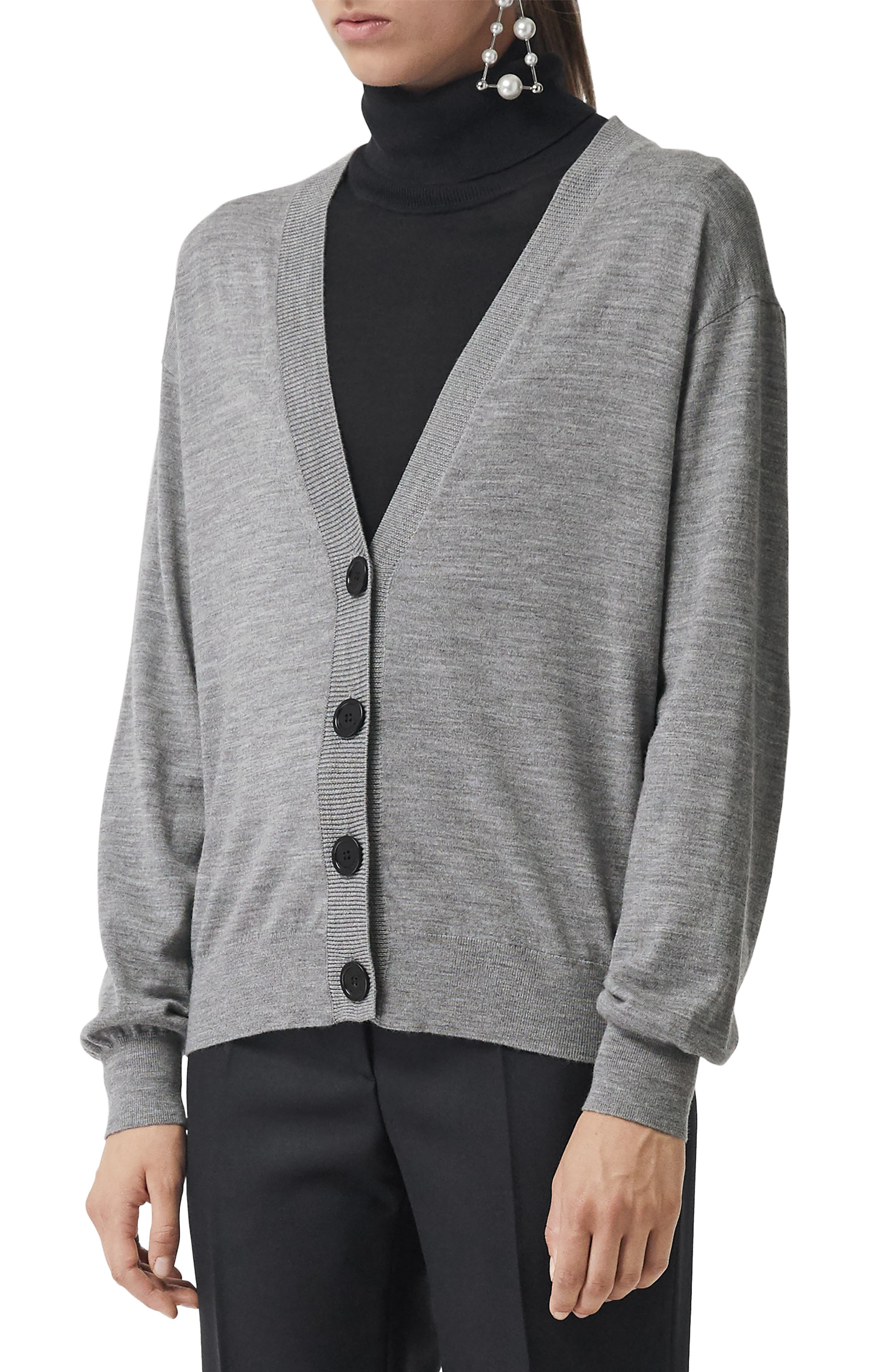 Burberry Dornoch Check Detail Merino Wool Cardigan, Grey