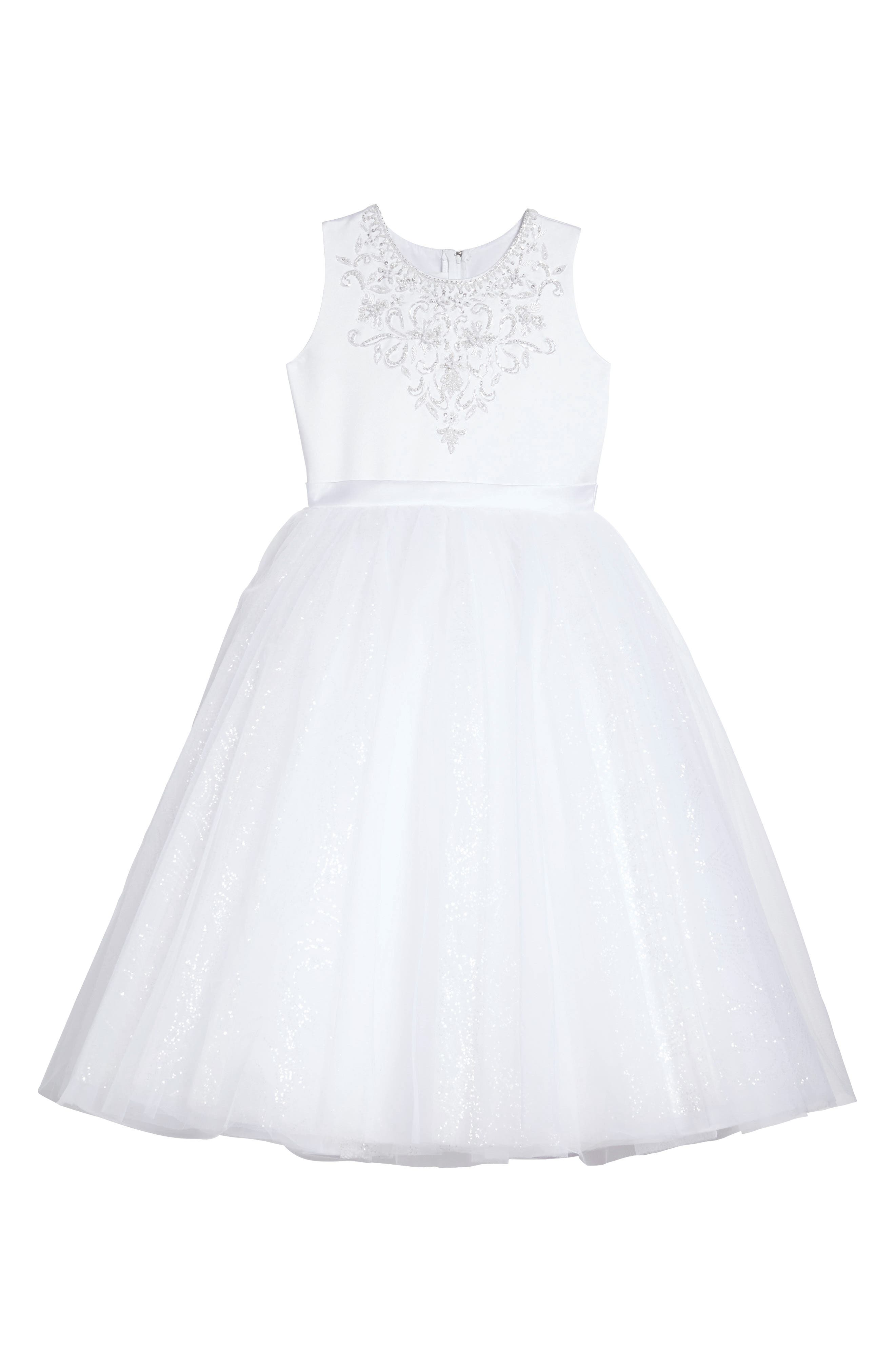 Beaded Satin & Tulle First Communion Dress,                             Main thumbnail 1, color,