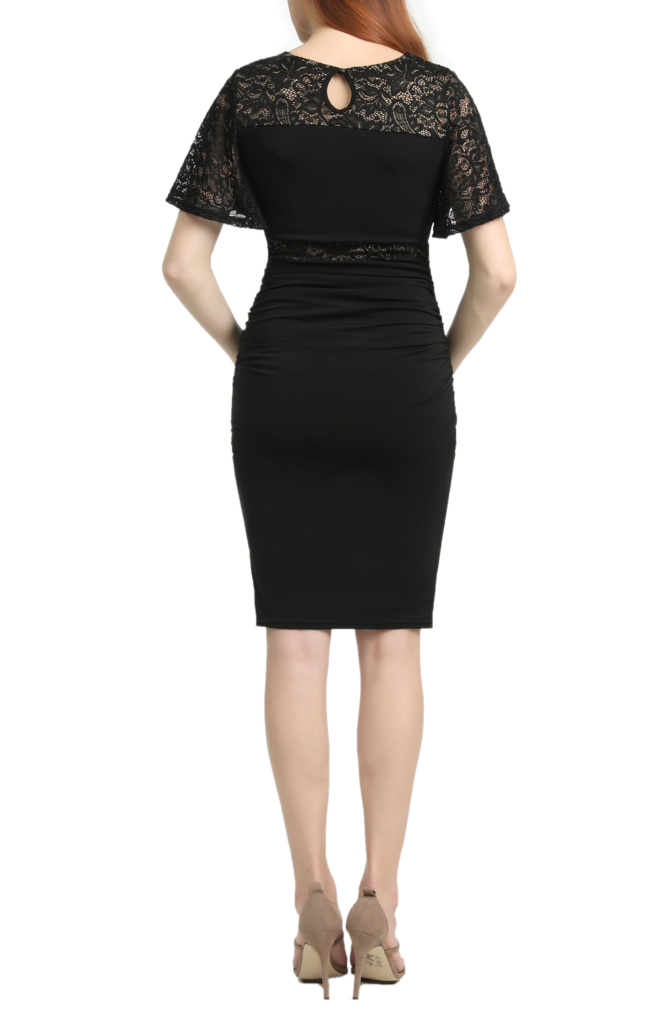 Kennedy Lace Accent Maternity Dress,                             Alternate thumbnail 2, color,                             BLACK