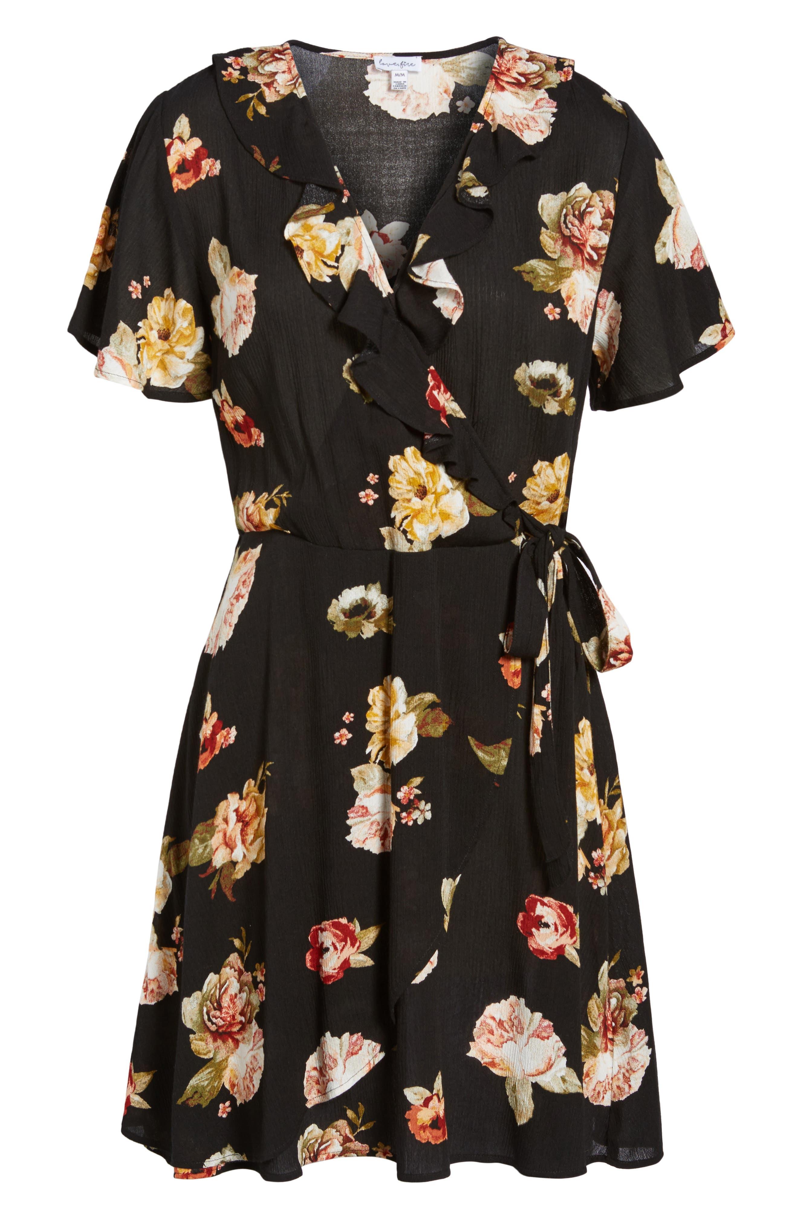 LOVE, FIRE,                             Floral Gauze Wrap Dress,                             Alternate thumbnail 6, color,                             001