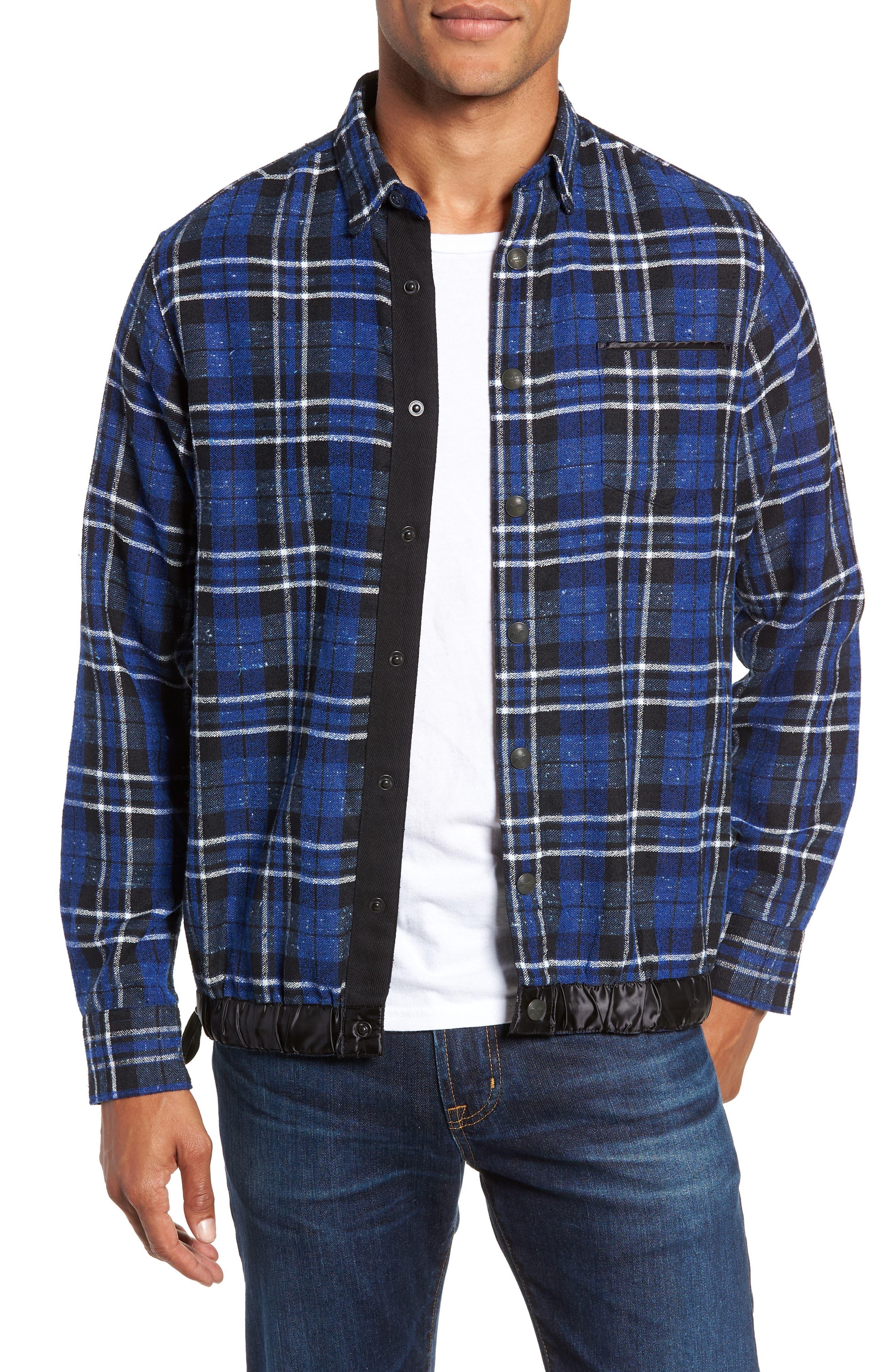 Slim Fit Tartan Shirt Jacket,                         Main,                         color, NAVY