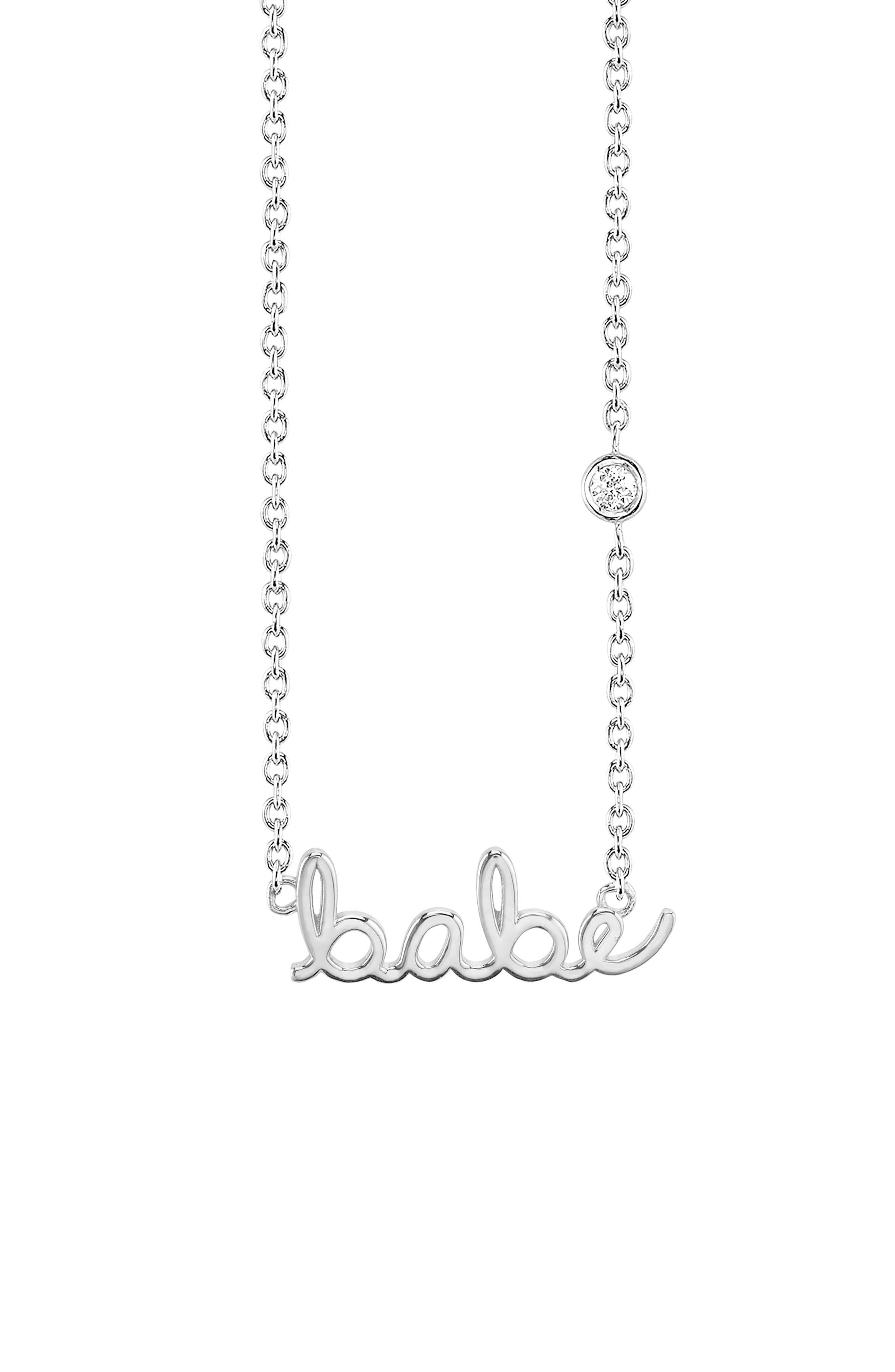 Babe Diamond Pendant Necklace,                             Main thumbnail 1, color,                             SILVER