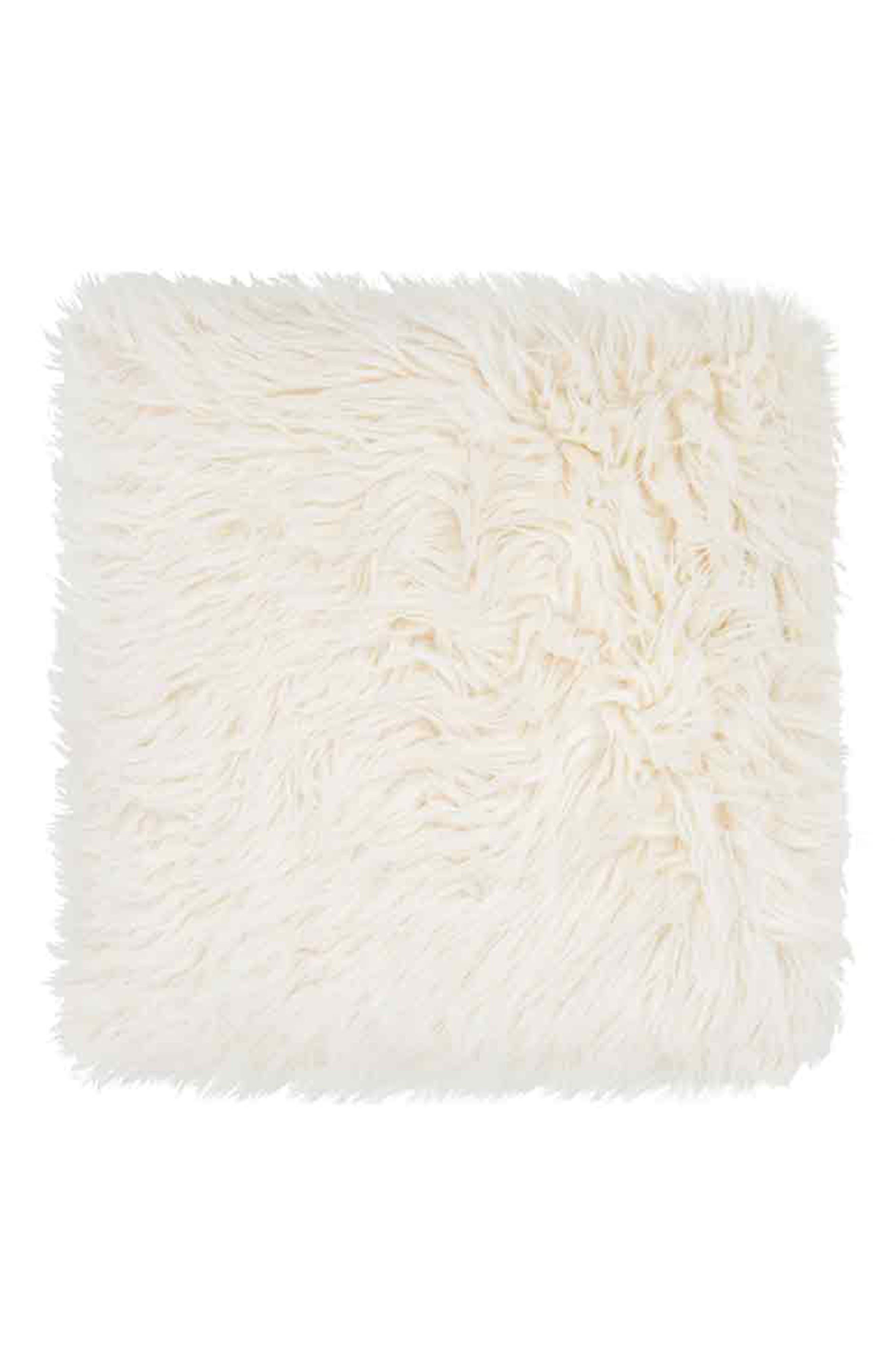 Heron Faux Fur Accent Pillow,                         Main,                         color, WHISPER WHITE/ WHISPER WHITE