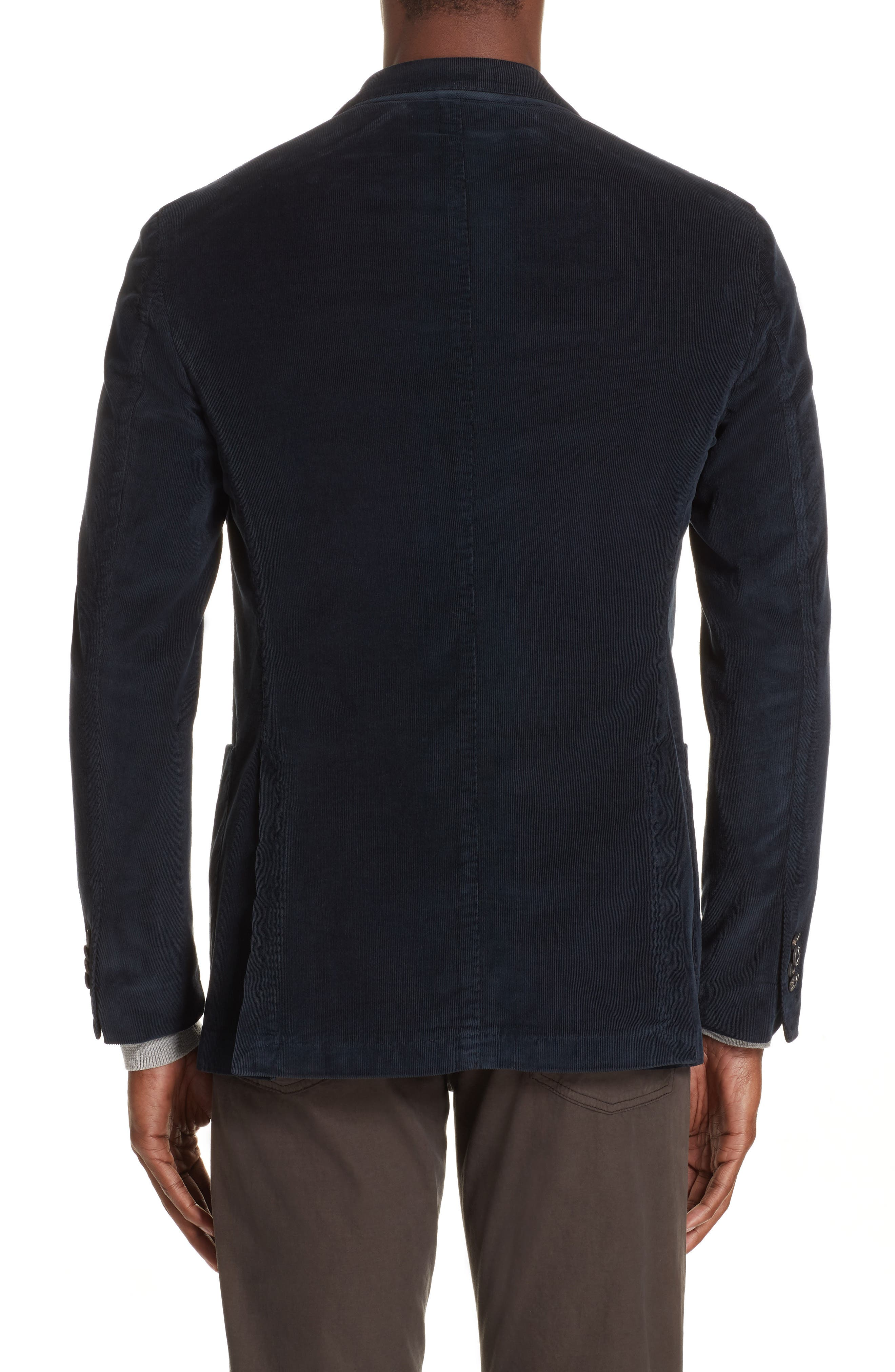 Trim Fit Stretch Corduroy Cotton Blazer,                             Alternate thumbnail 2, color,                             NAVY