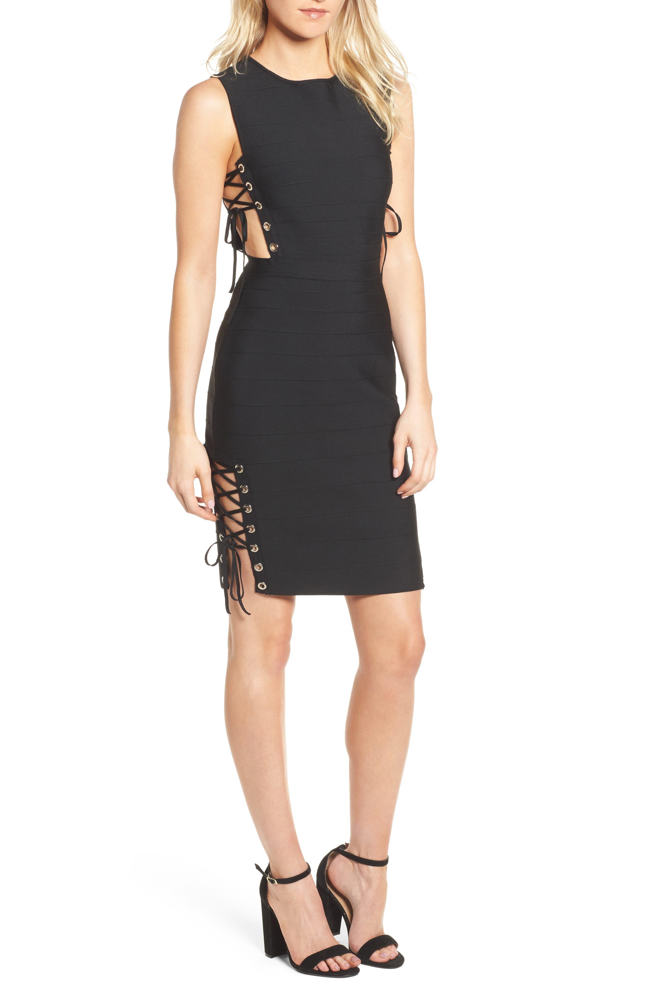 Lace-Up Bandage Dress,                         Main,                         color, 001