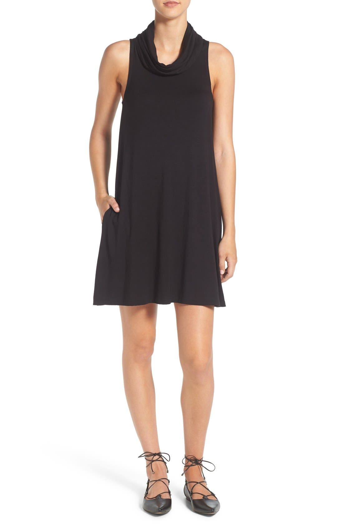 Cowl Neck Shift Dress,                         Main,                         color, 001