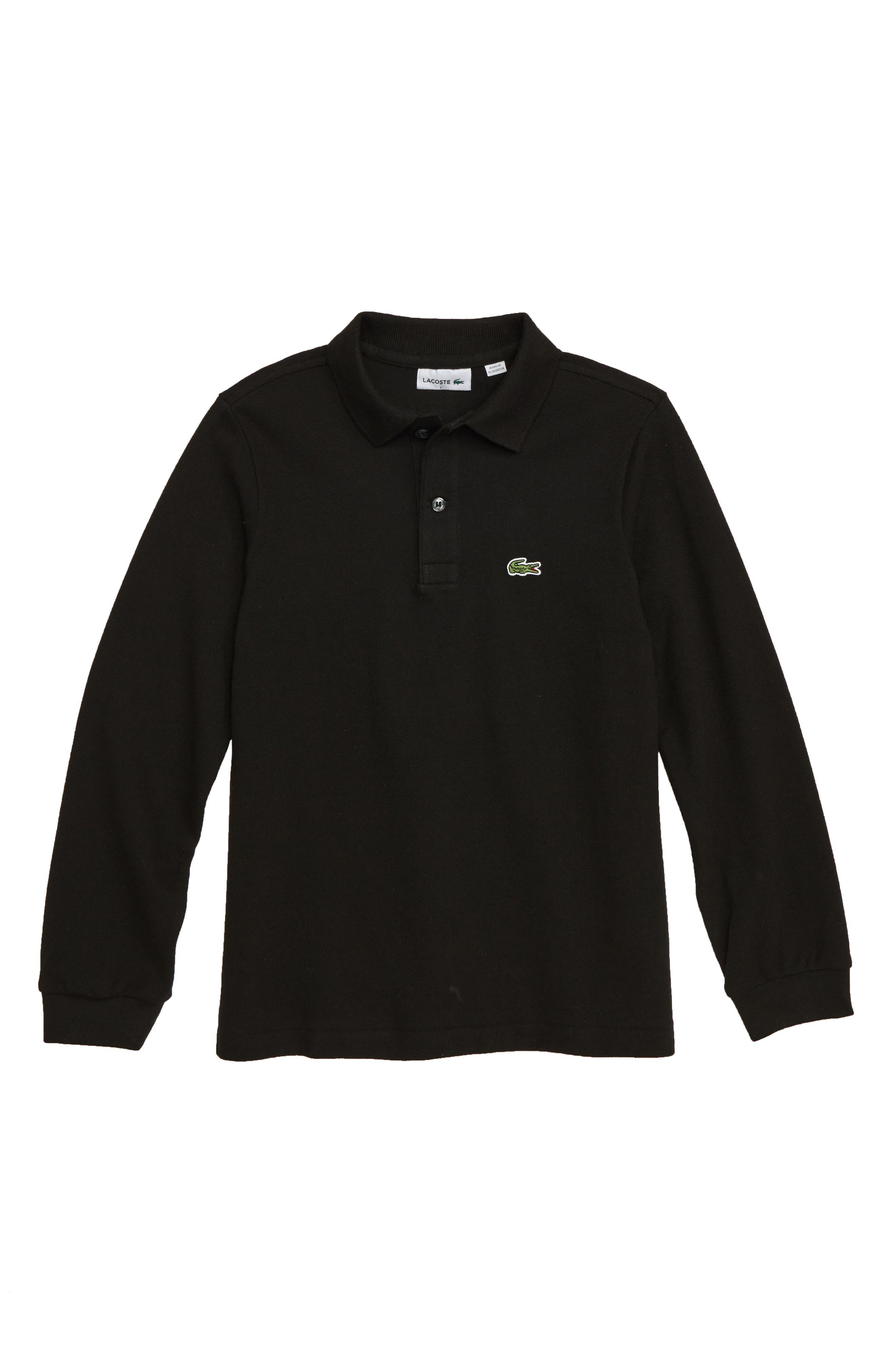 Solid Long Sleeve Polo,                             Main thumbnail 1, color,                             BLACK