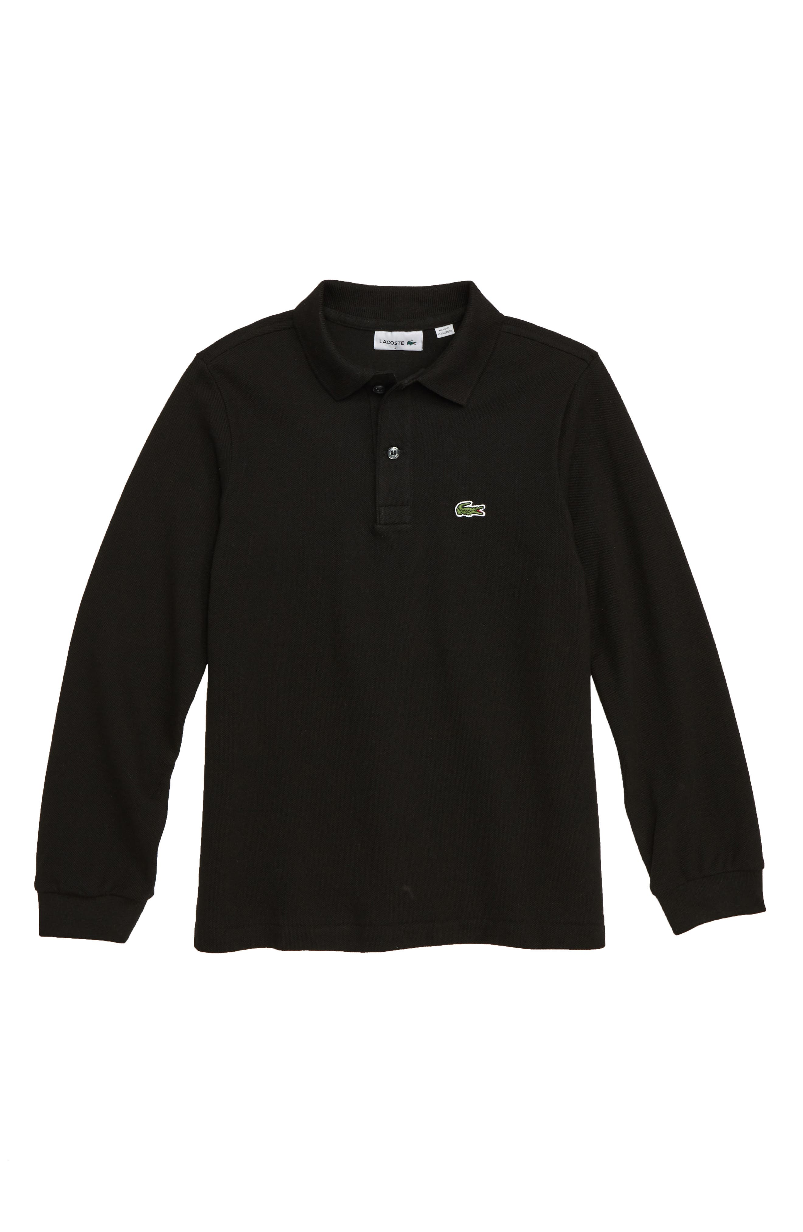 Solid Long Sleeve Polo,                         Main,                         color, BLACK