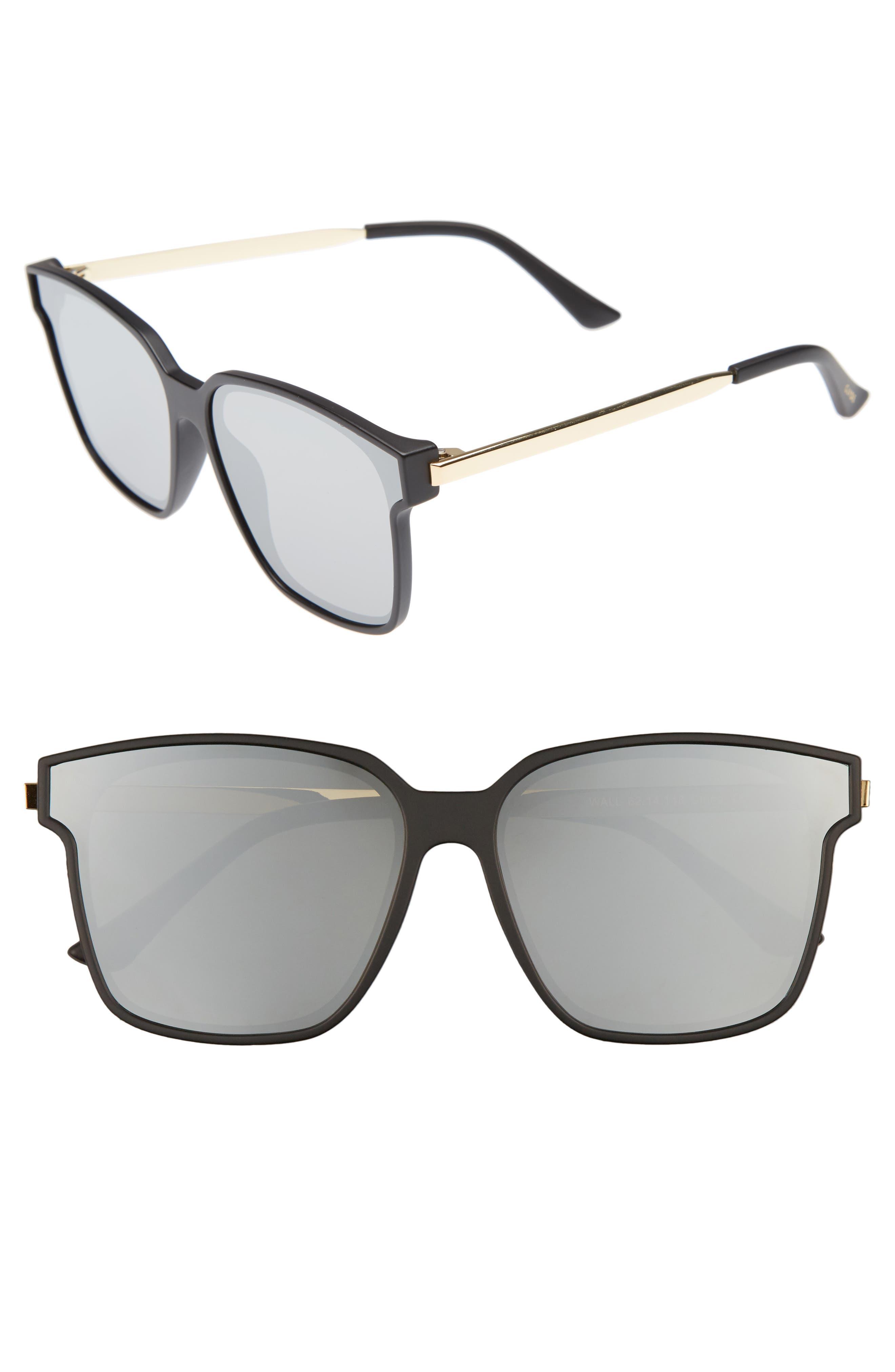Wall 62mm Square Mirror Lens Sunglasses,                             Main thumbnail 1, color,