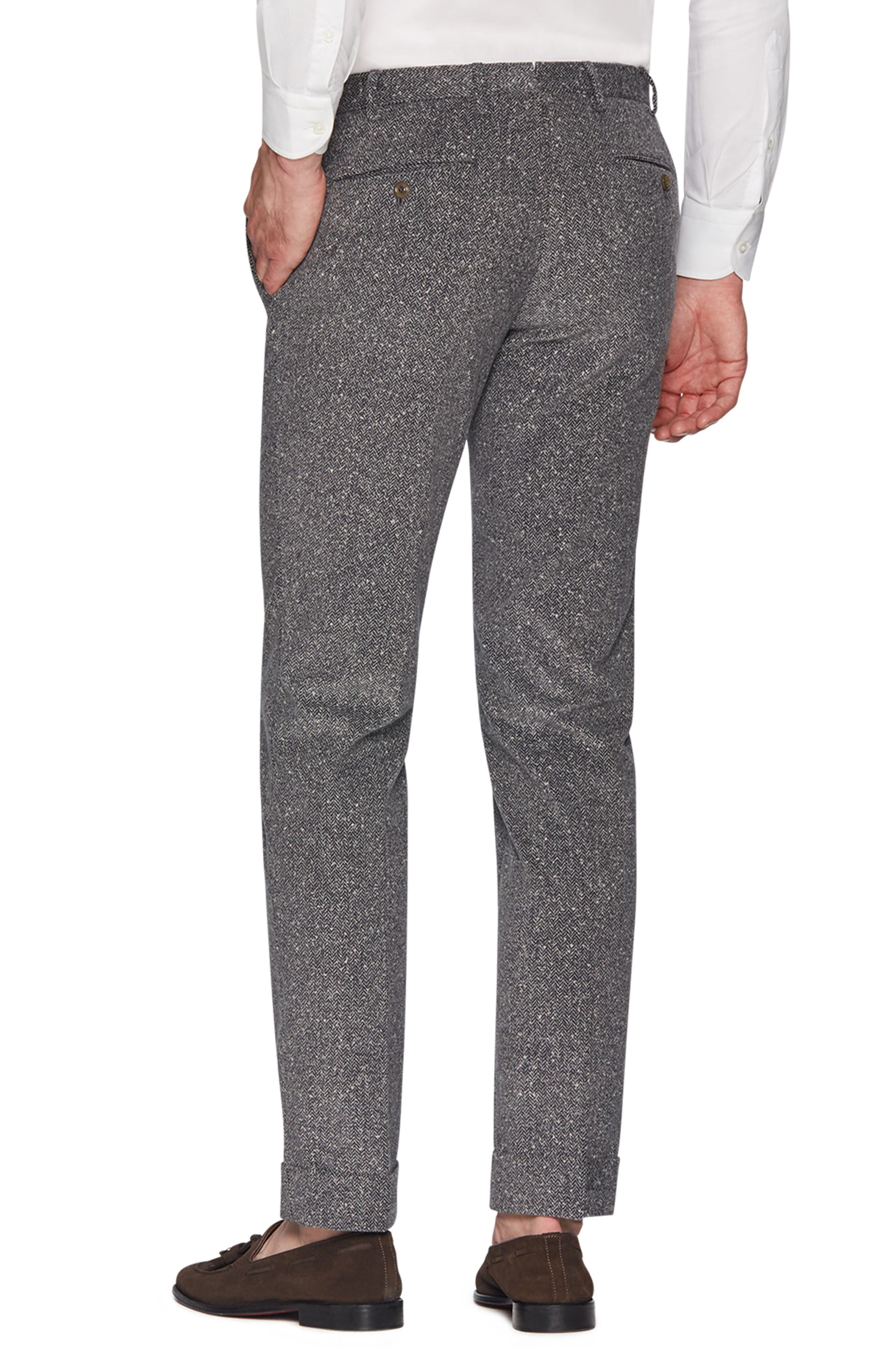 Curtis Flat Front Herringbone Cotton Trousers,                             Alternate thumbnail 2, color,                             MID GREY