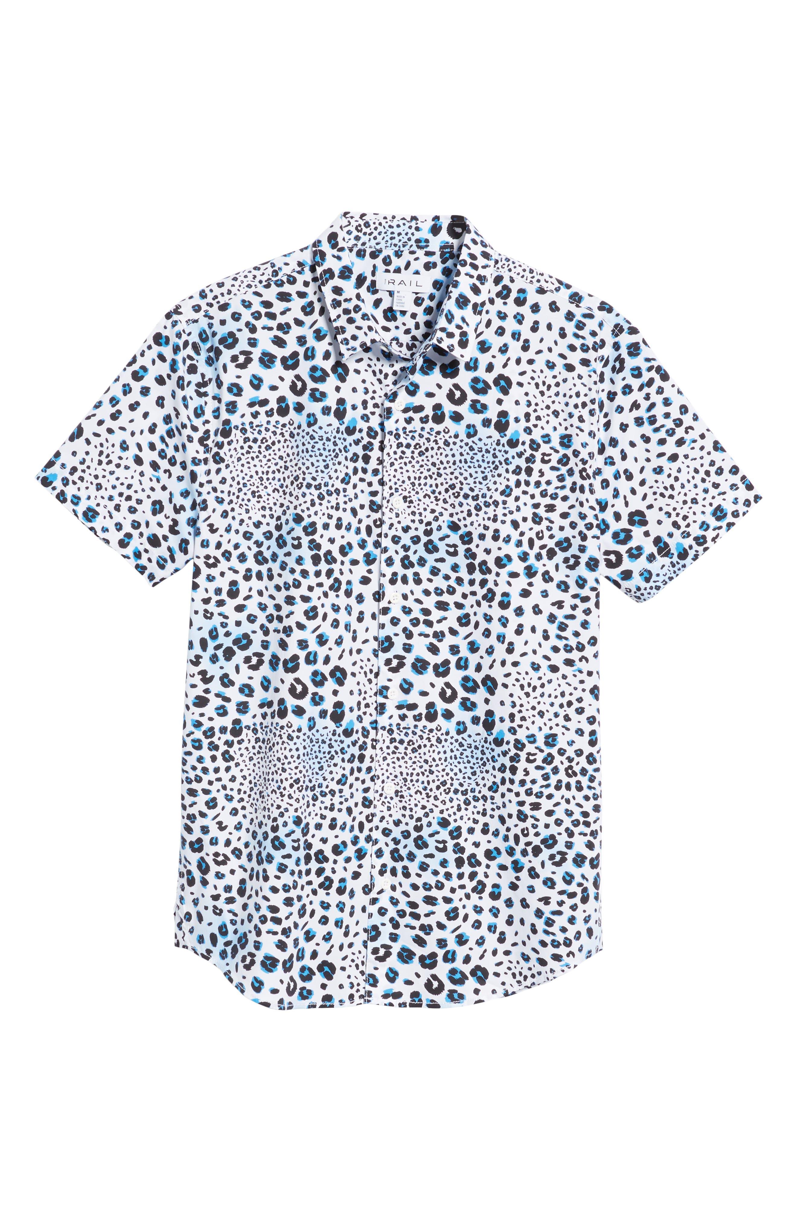 Print Sport Shirt,                             Alternate thumbnail 6, color,                             WHITE BLUE MICRO LEOPARD