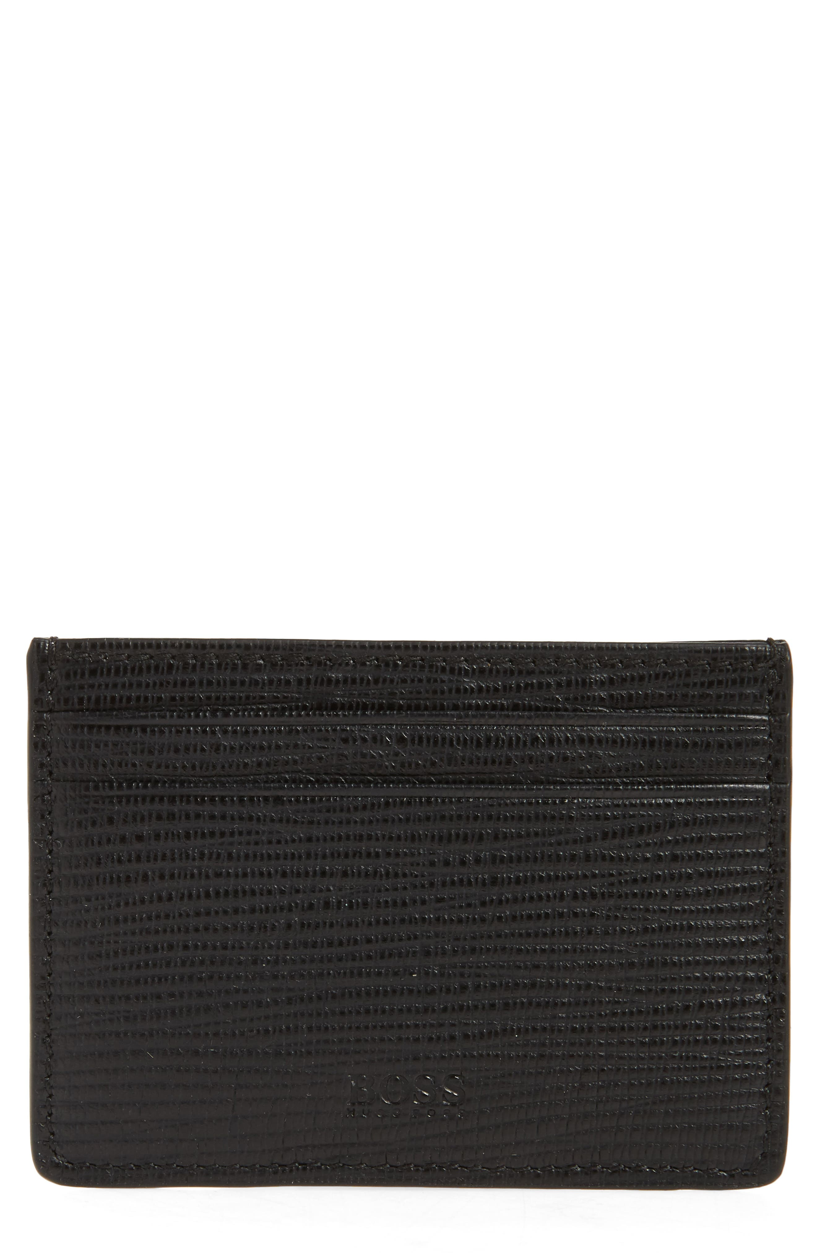 Timeless Leather Money Clip Card Case,                         Main,                         color, 001
