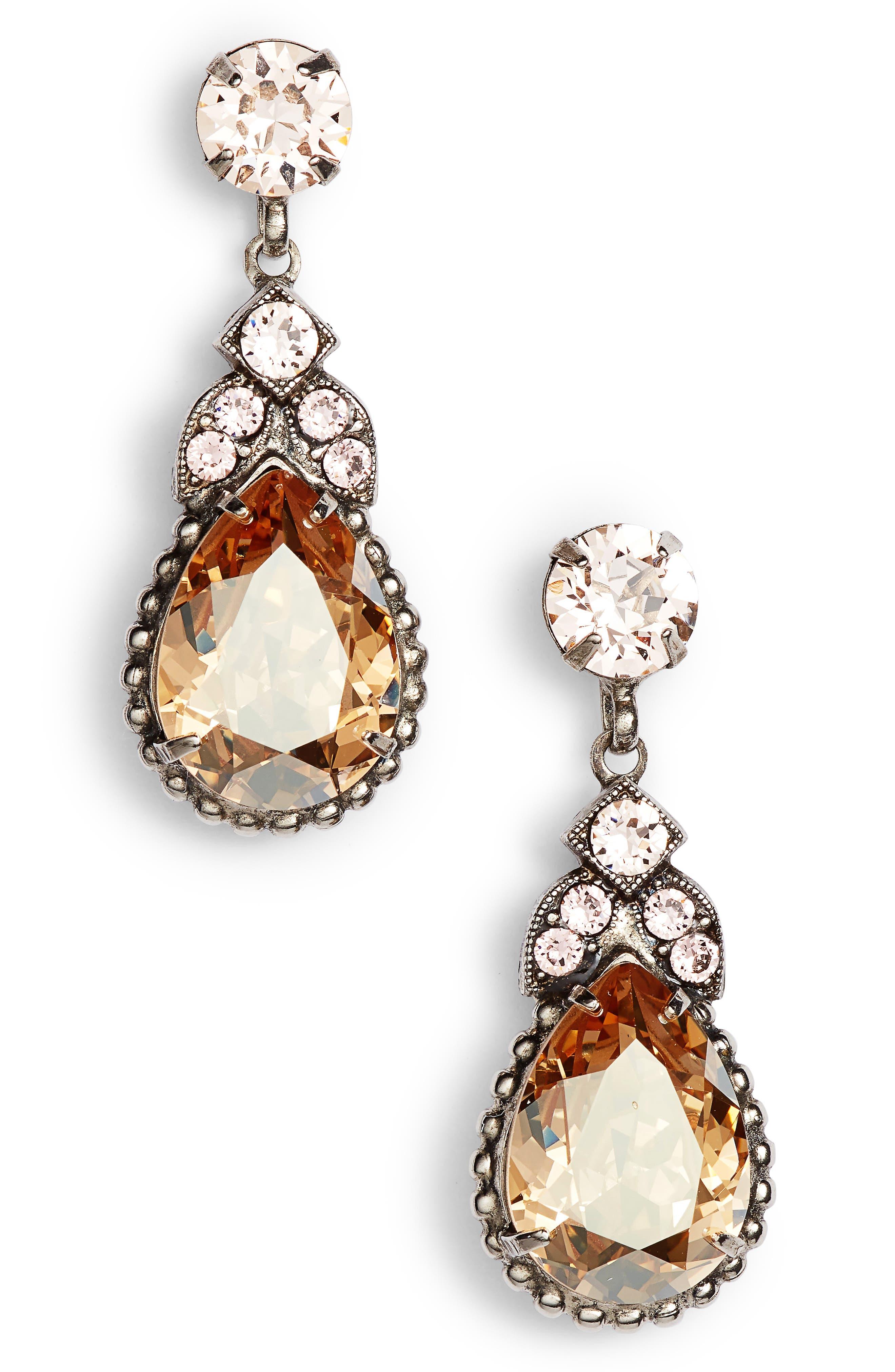 Nigella Crystal Drop Earrings,                         Main,                         color, PINK