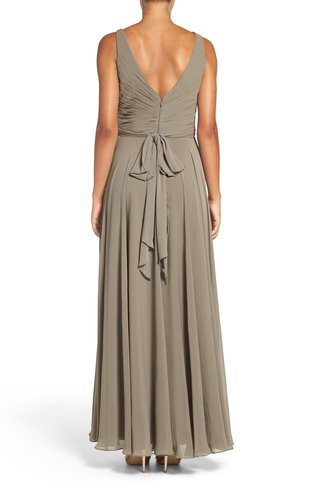 Karen V-Neck A-Line Chiffon Gown,                             Alternate thumbnail 4, color,                             020