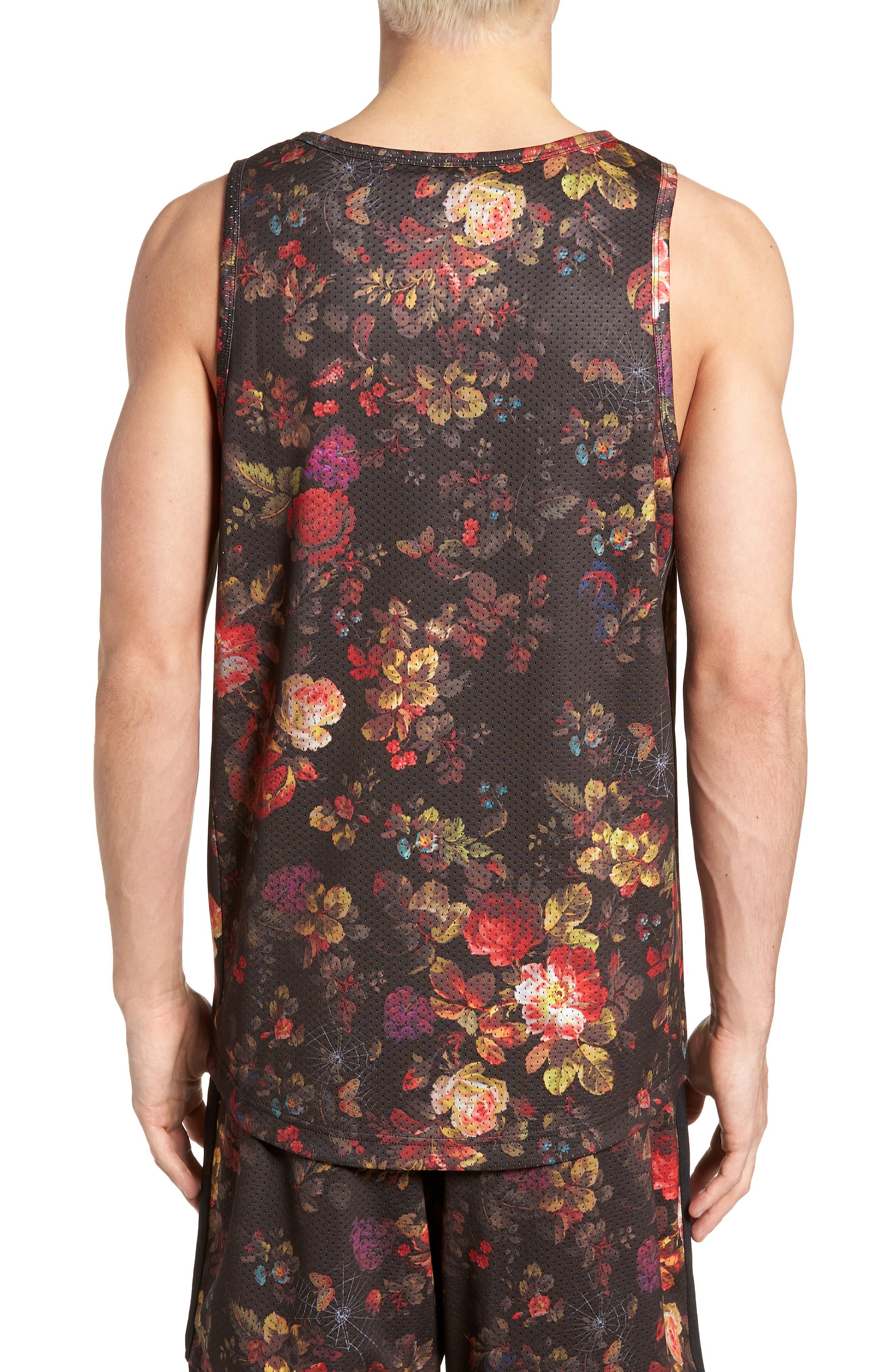 Nike Dry Reversible Floral Mesh Tank,                             Alternate thumbnail 3, color,                             BLACK/ WHITE