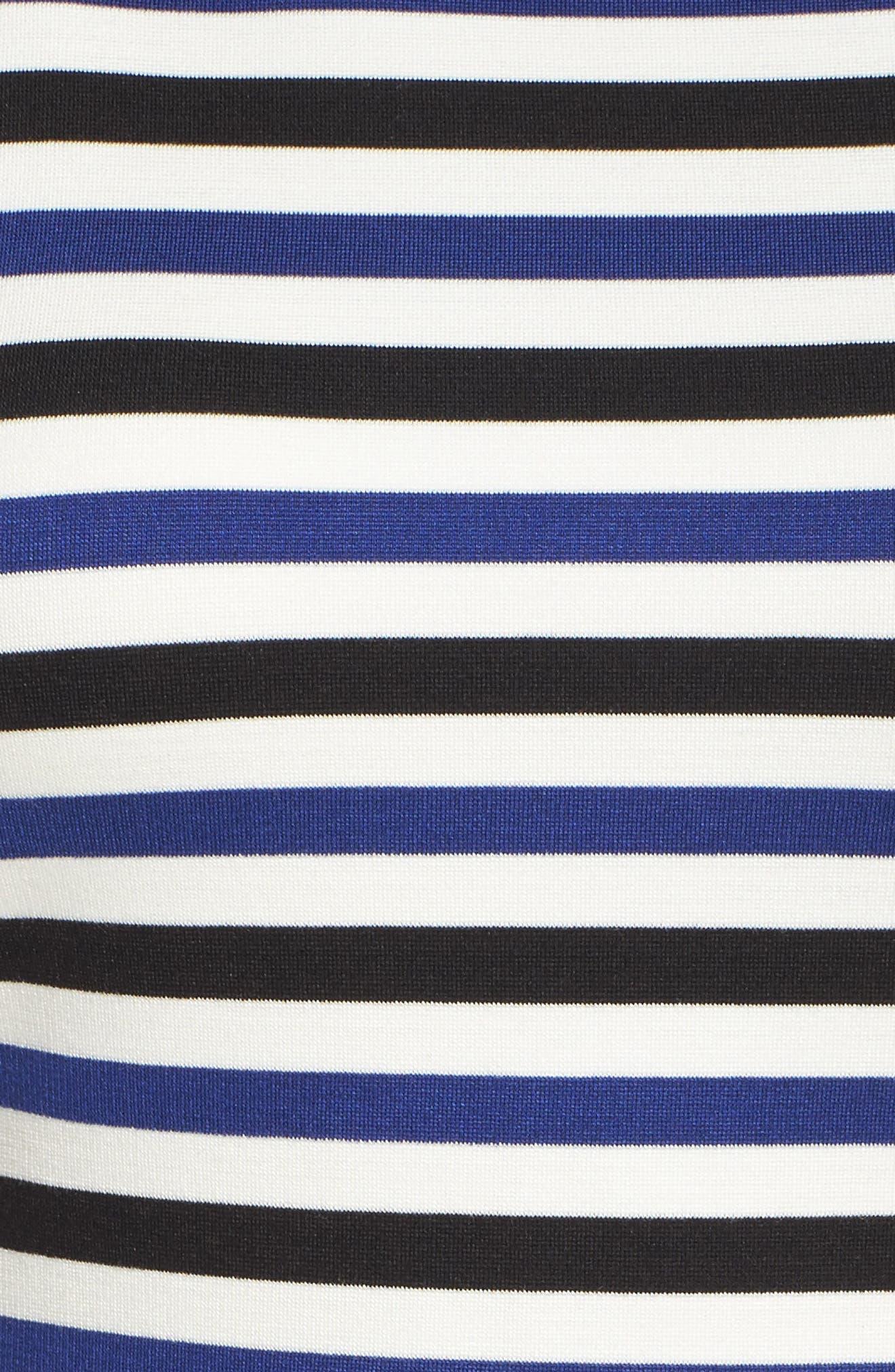 Ming Stripe Fit & Flare Dress,                             Alternate thumbnail 6, color,                             100