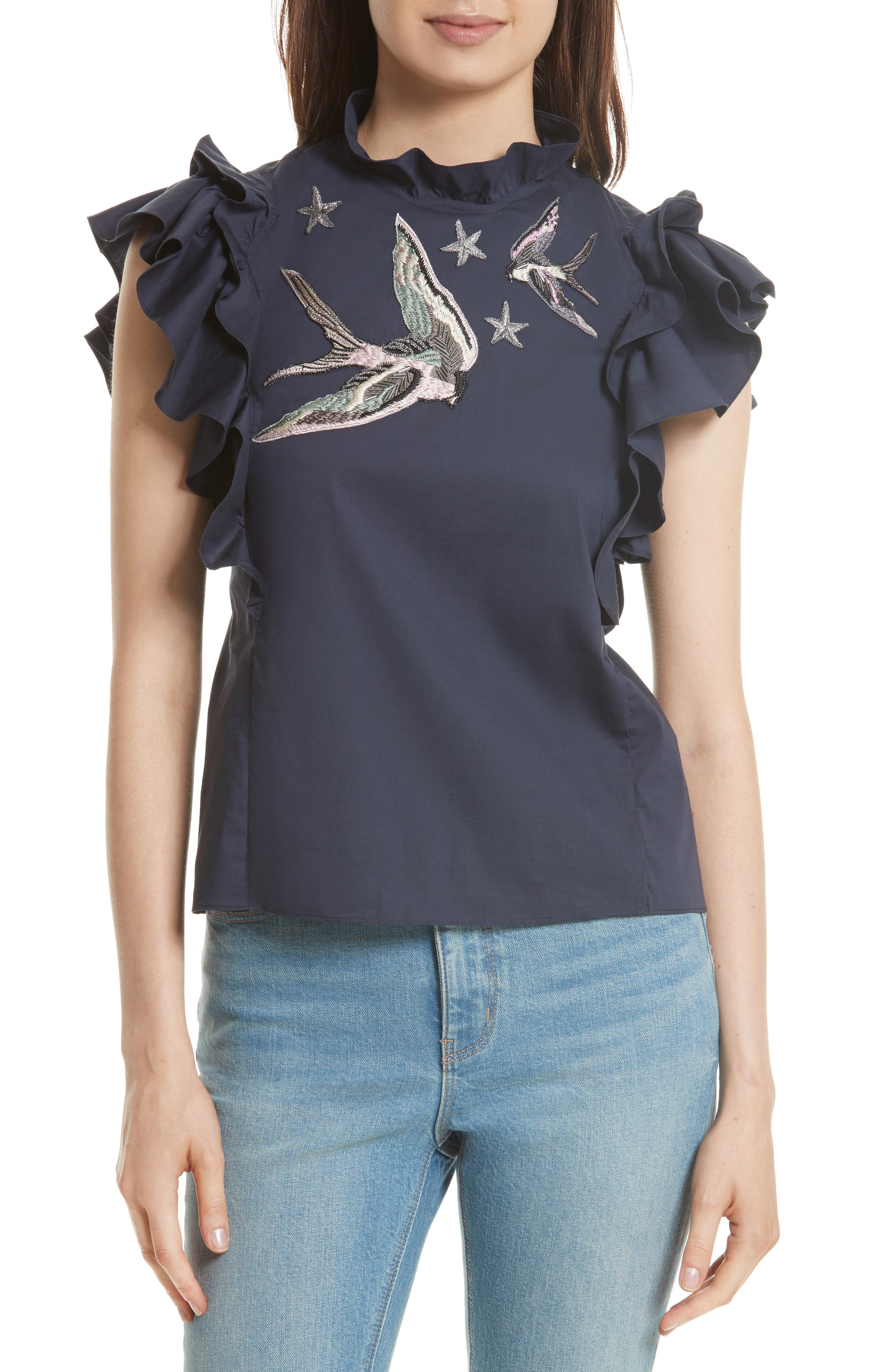 Embellished Sateen Top,                             Main thumbnail 1, color,                             403