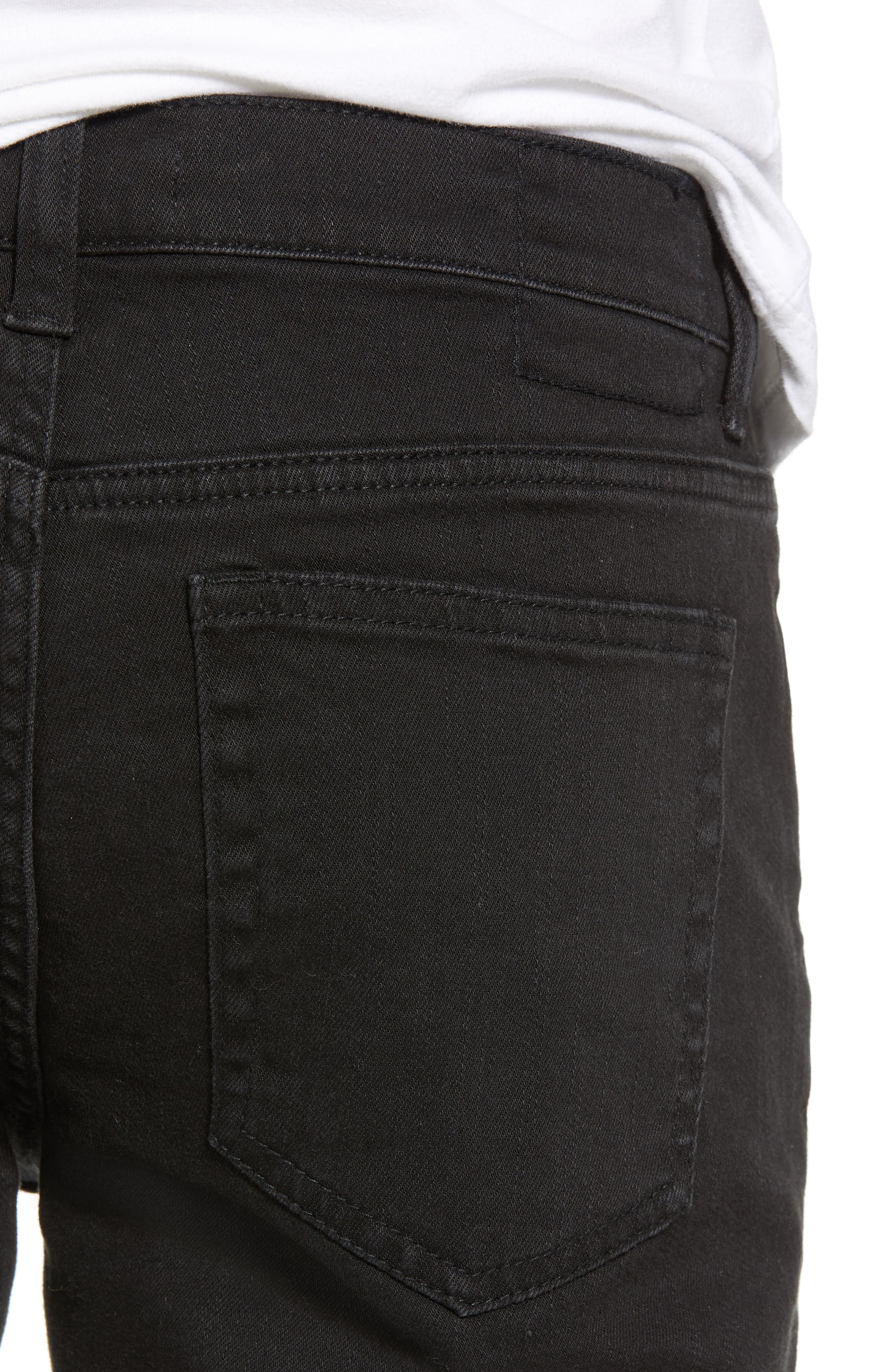 Ripped Skinny Jeans,                             Alternate thumbnail 4, color,                             BLACK STONE WASH