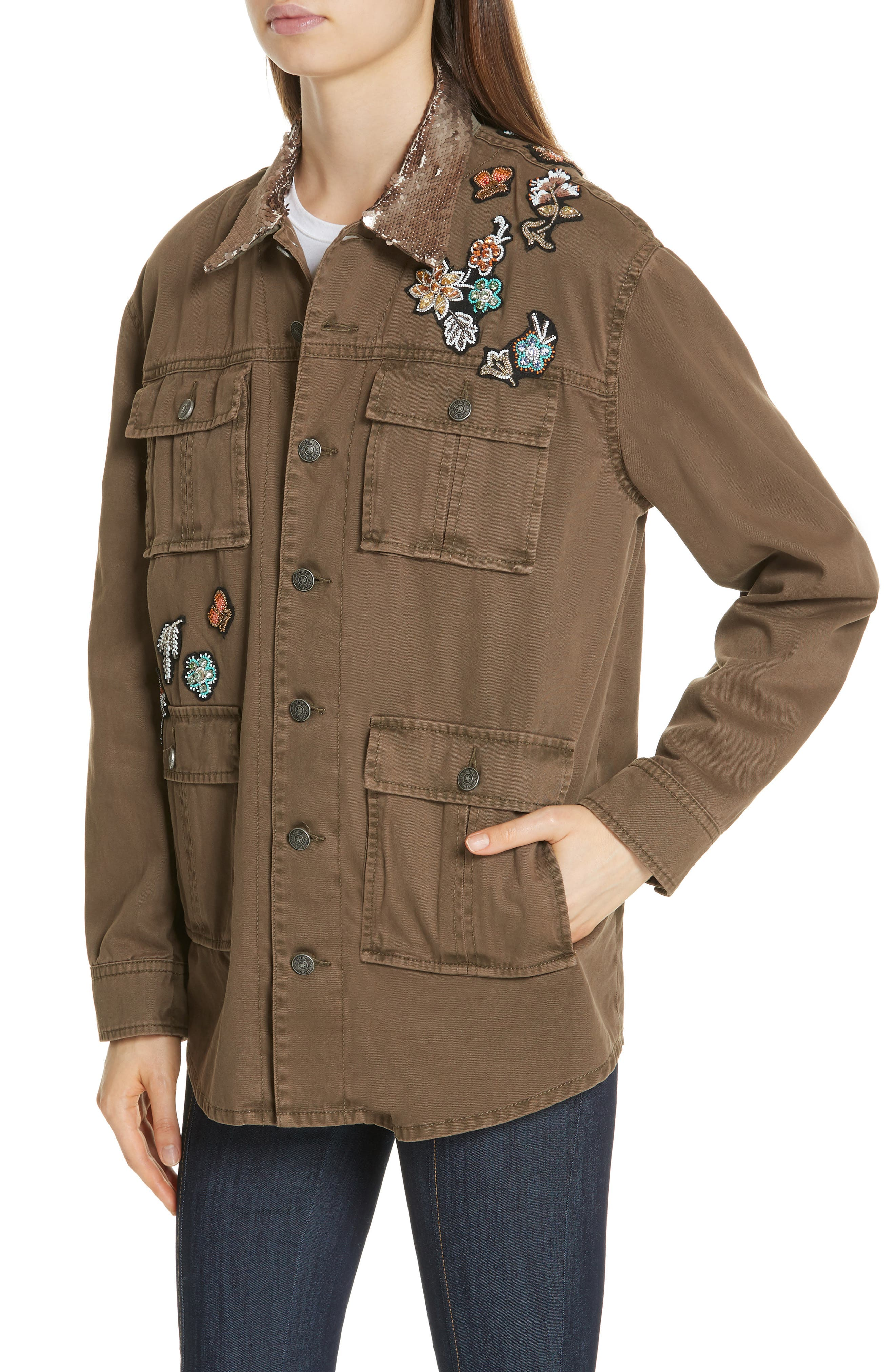 Canyon Sequin Patch Jacket,                             Alternate thumbnail 4, color,                             OLIVE