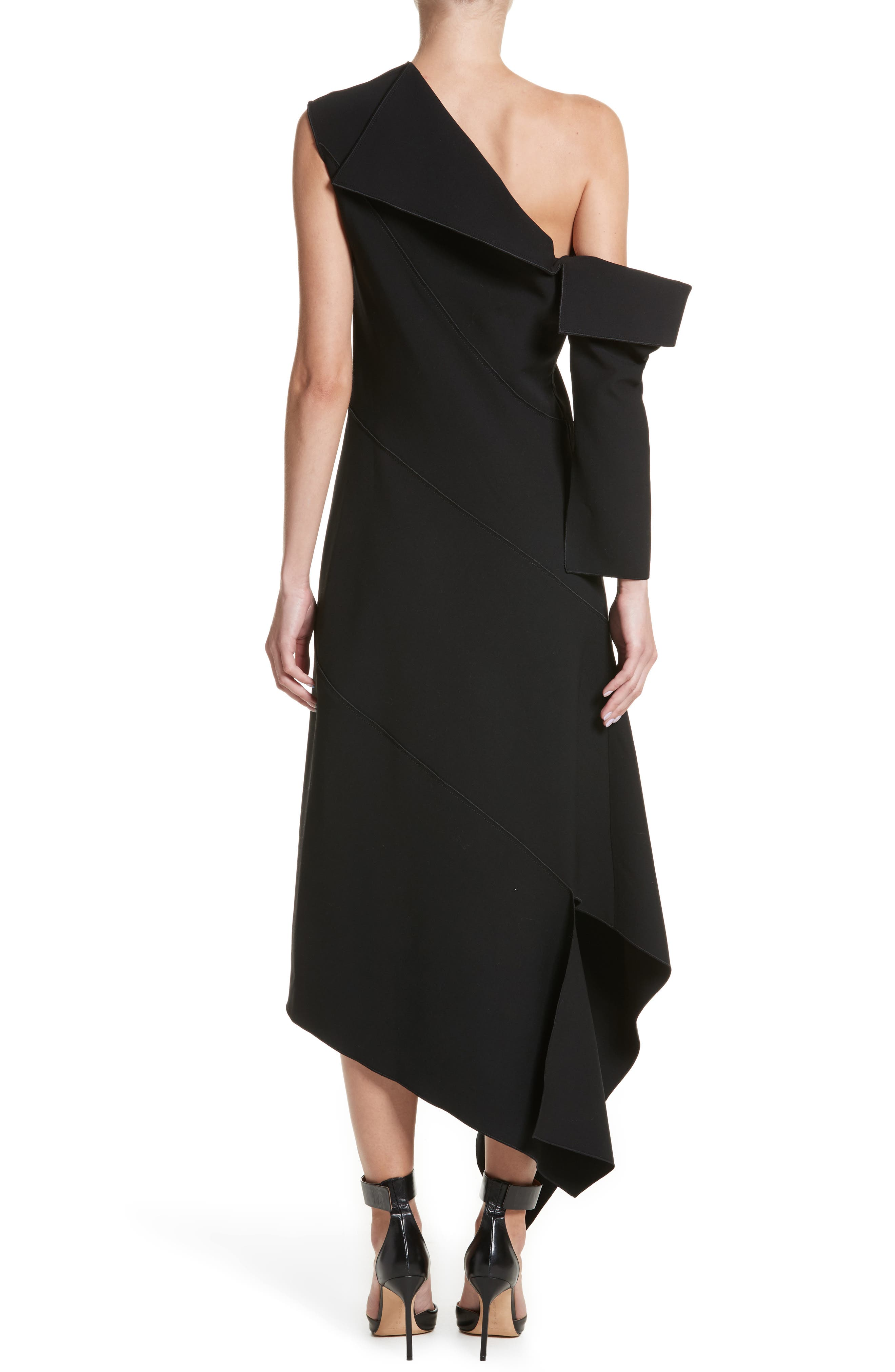 Double-Face Stretch Wool One-Shoulder Dress,                             Alternate thumbnail 2, color,                             001