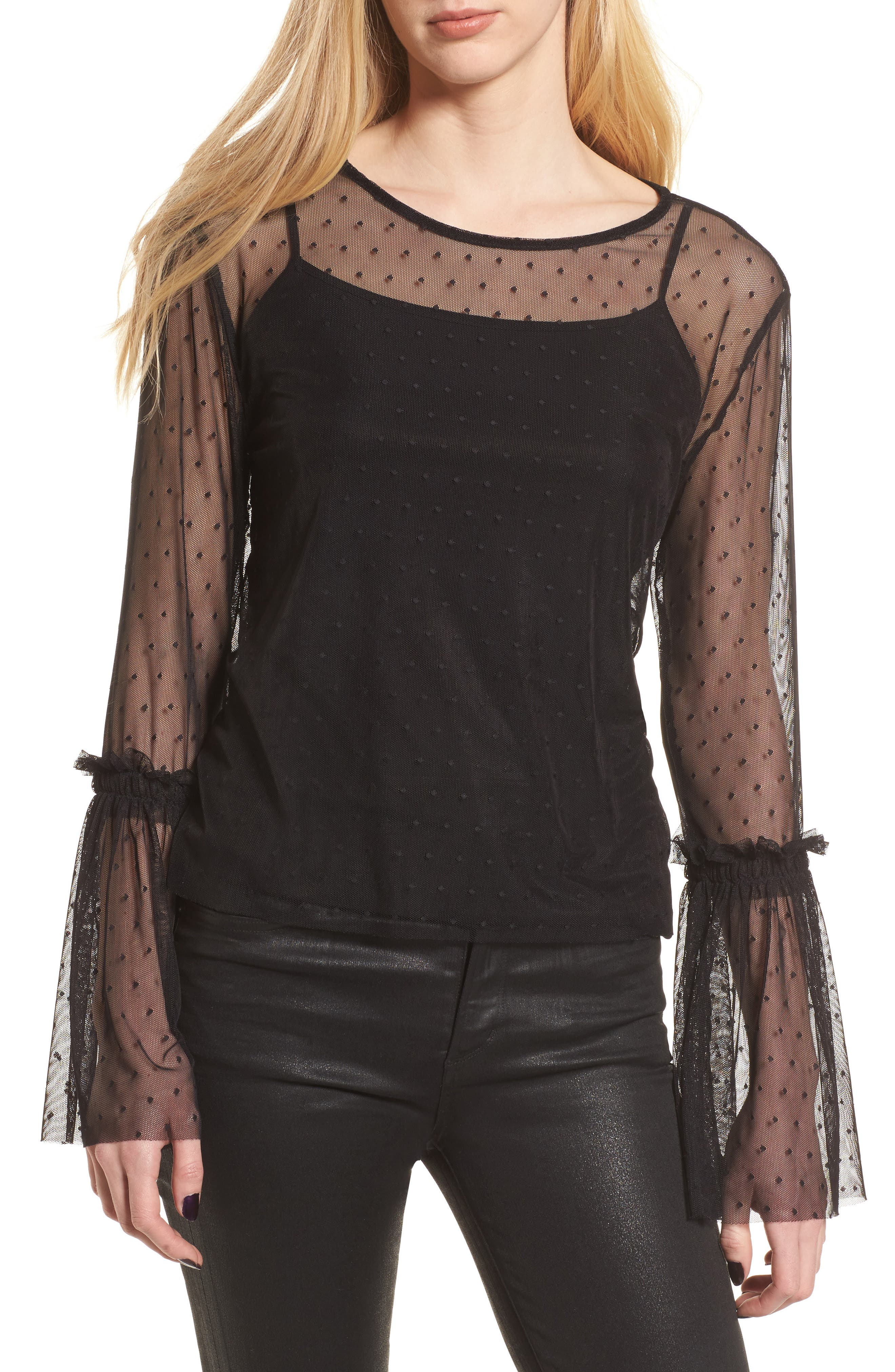 Dot Bell Sleeve Mesh Top,                         Main,                         color,