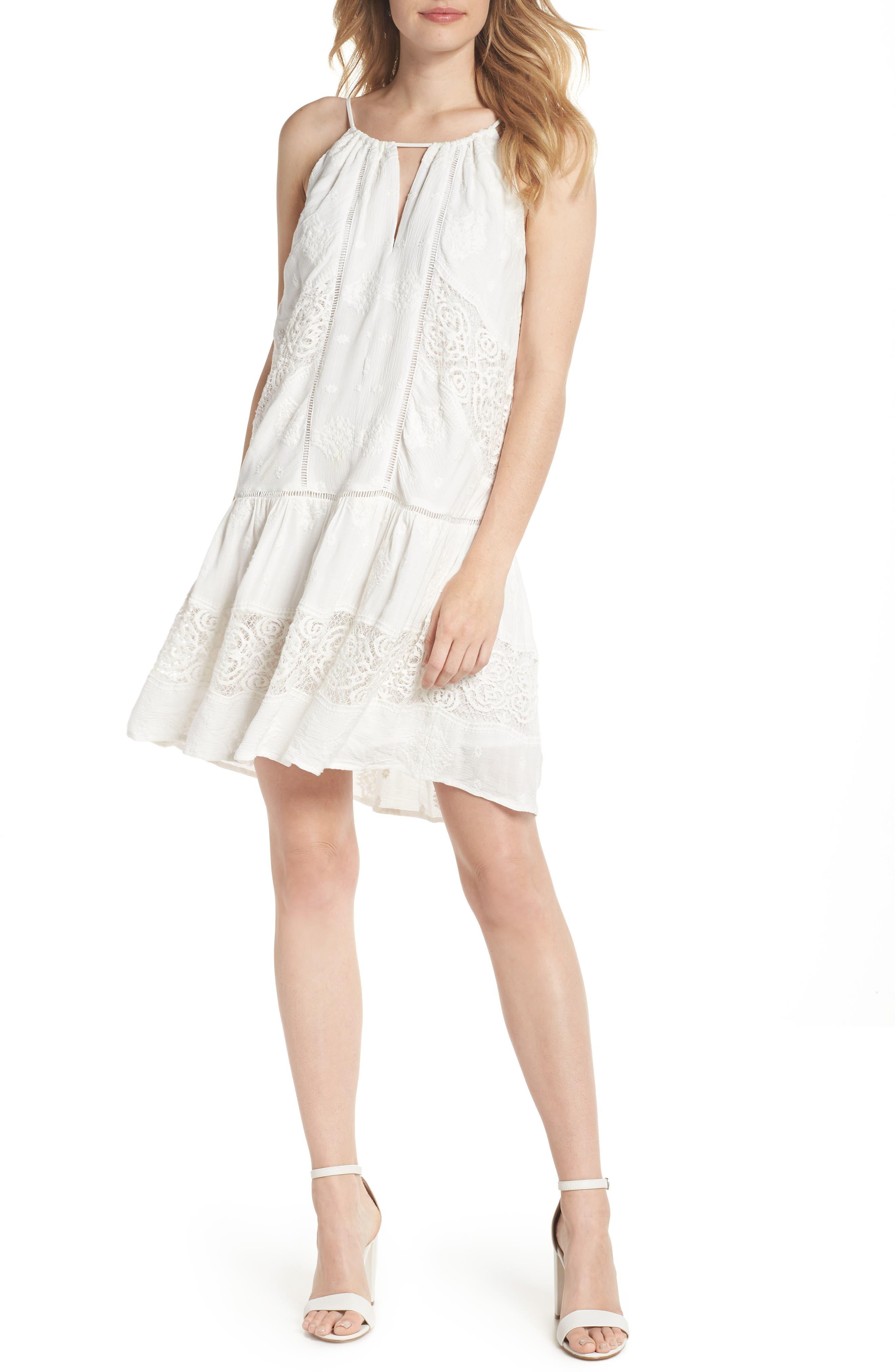 Lace Trim Keyhole Minidress,                         Main,                         color,