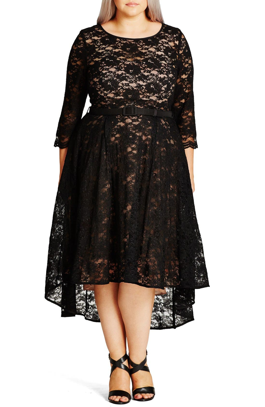 'Lace Lover' High/Low Midi Dress,                             Main thumbnail 1, color,                             BLACK