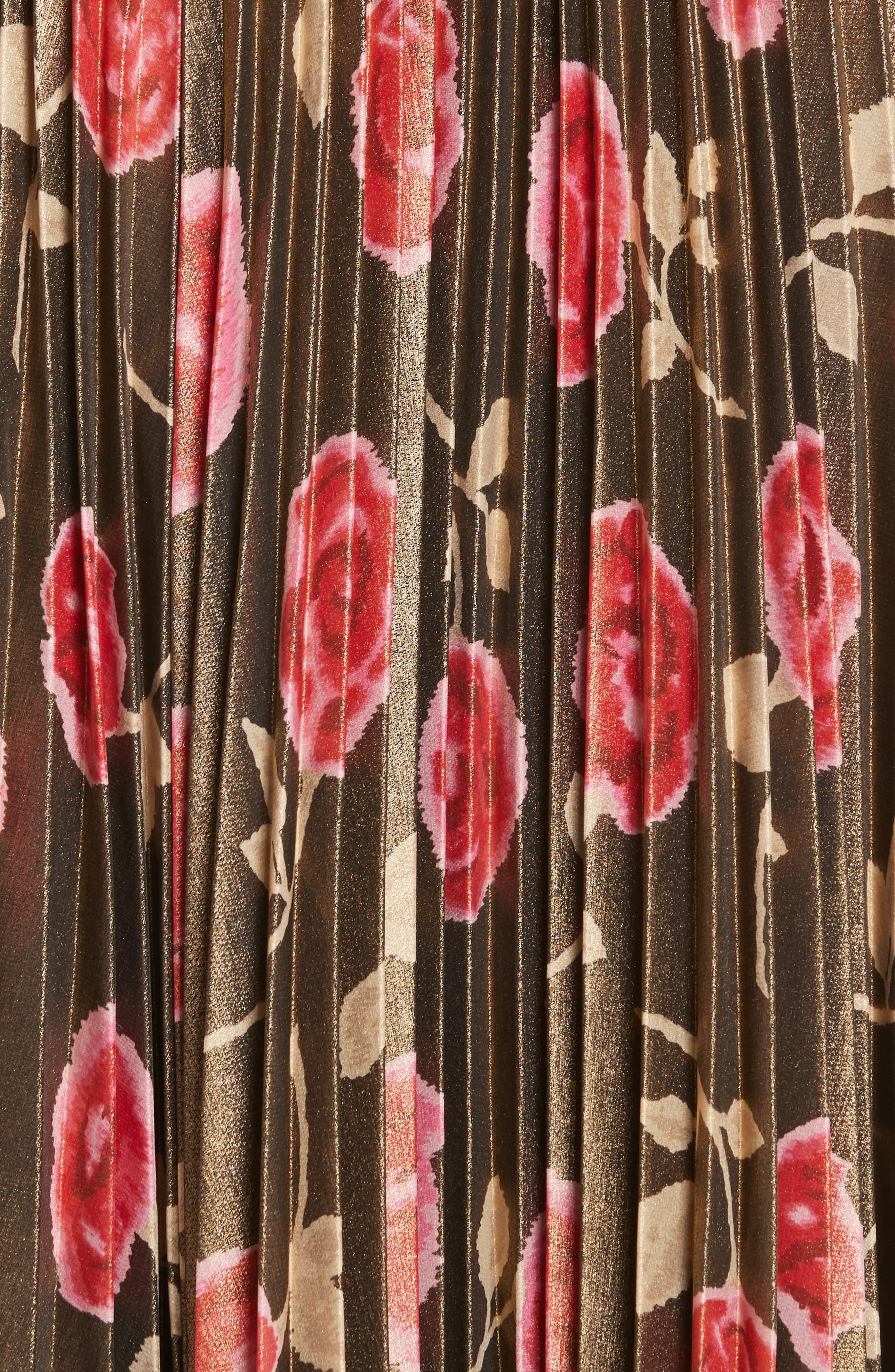 hazy rose pleated metallic skirt,                             Alternate thumbnail 5, color,                             006