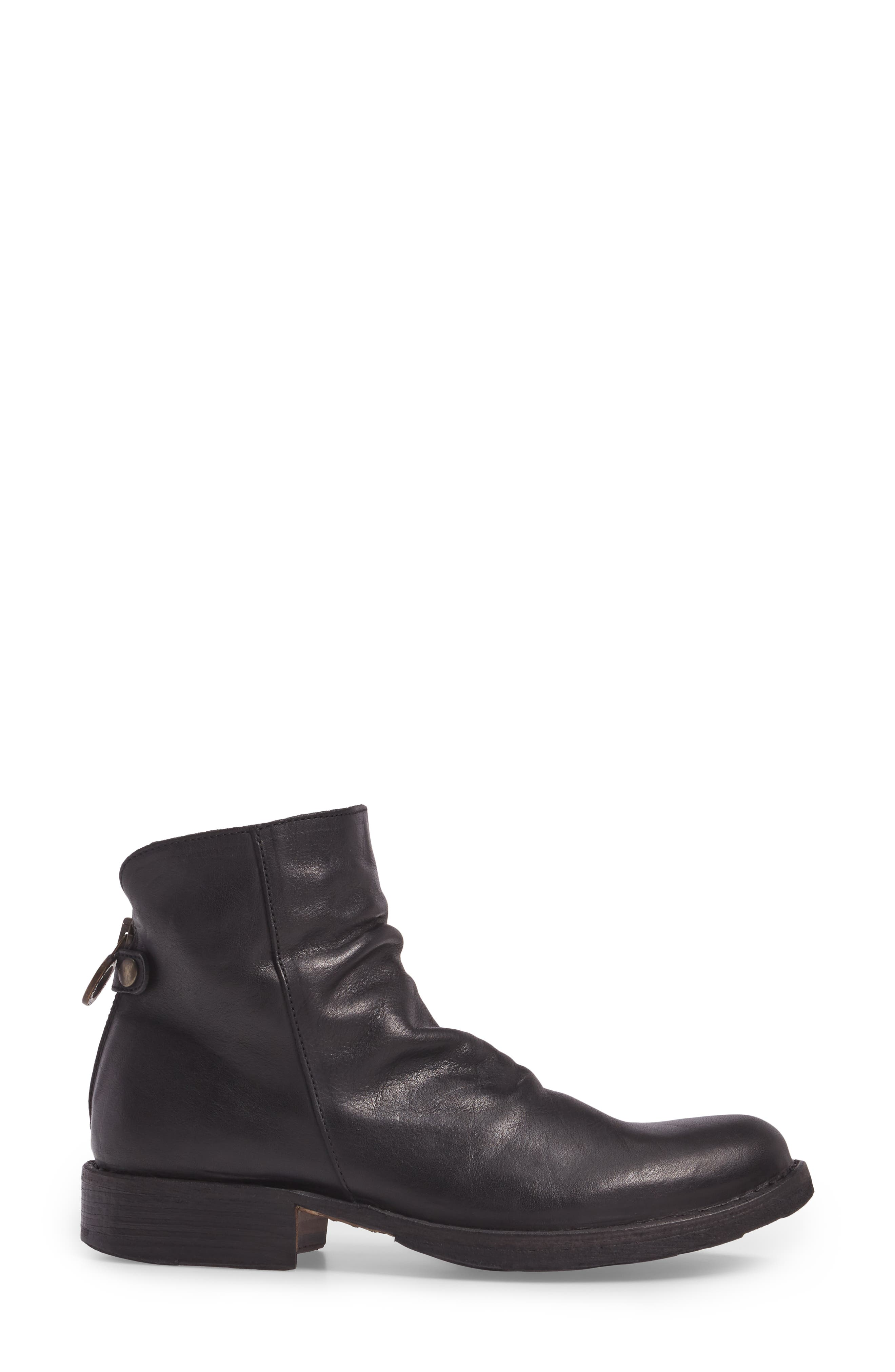 Elina Slightly Slouchy Bootie,                             Alternate thumbnail 3, color,                             BLACK