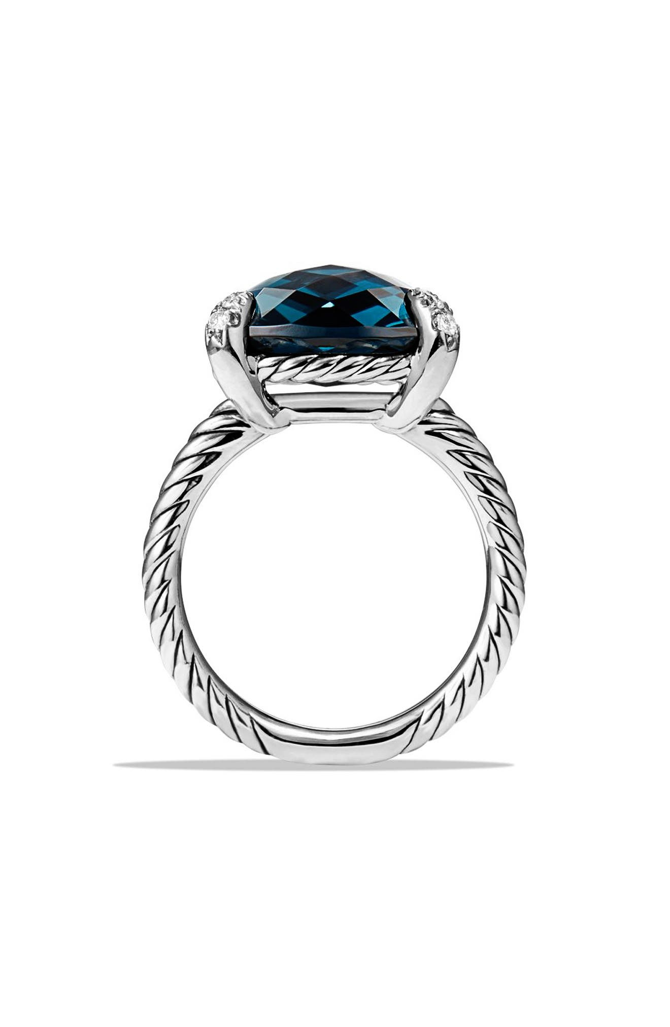'Châtelaine' Ring with Semiprecious Stone and Diamonds,                             Alternate thumbnail 5, color,                             SILVER/ HAMPTON BLUE TOPAZ