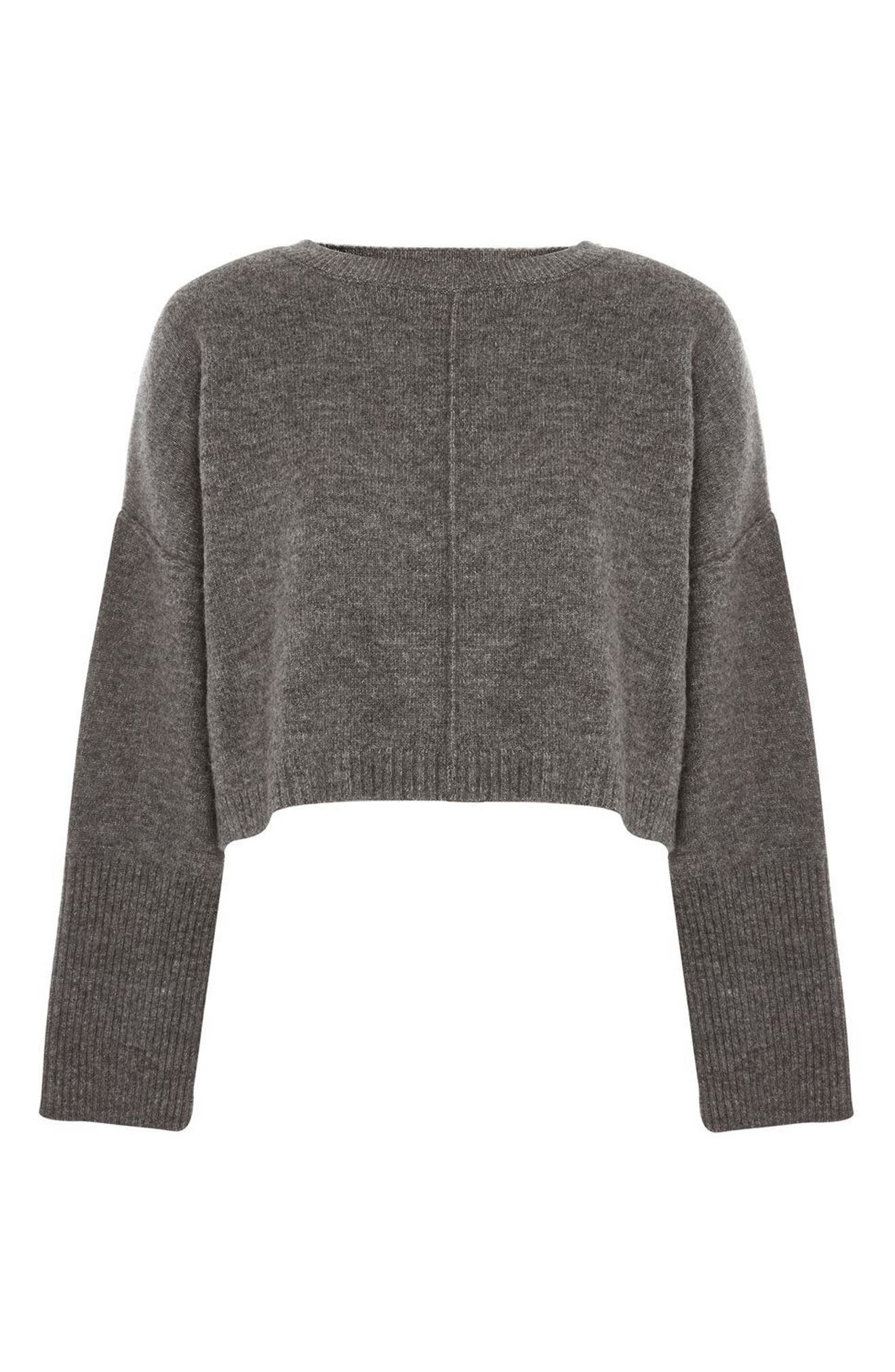 Wide Sleeve Crop Sweater,                             Alternate thumbnail 3, color,                             021