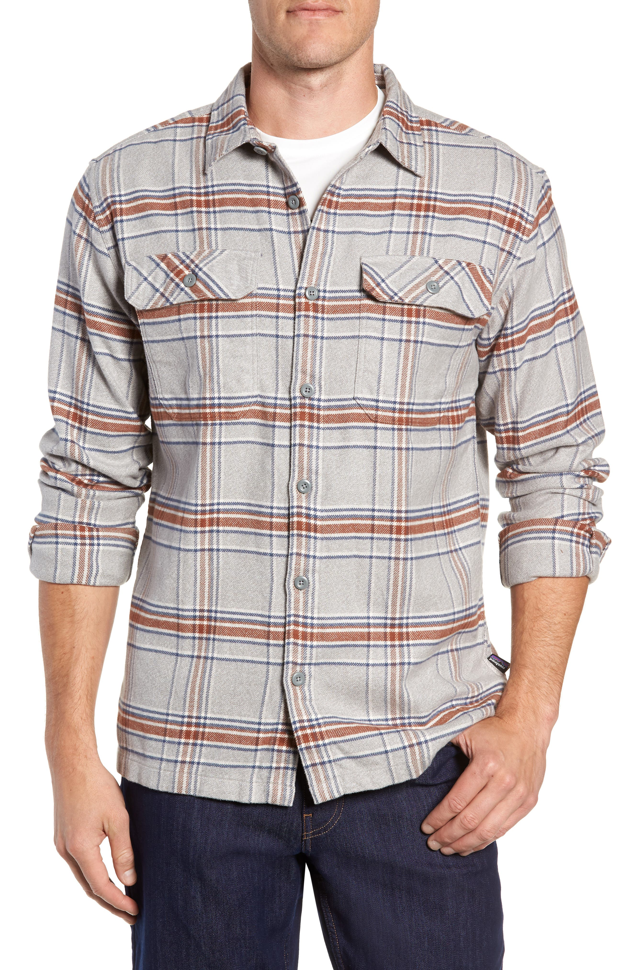 'Fjord' Regular Fit Organic Cotton Flannel Shirt,                         Main,                         color, ACTIVIST FEATHER GREY