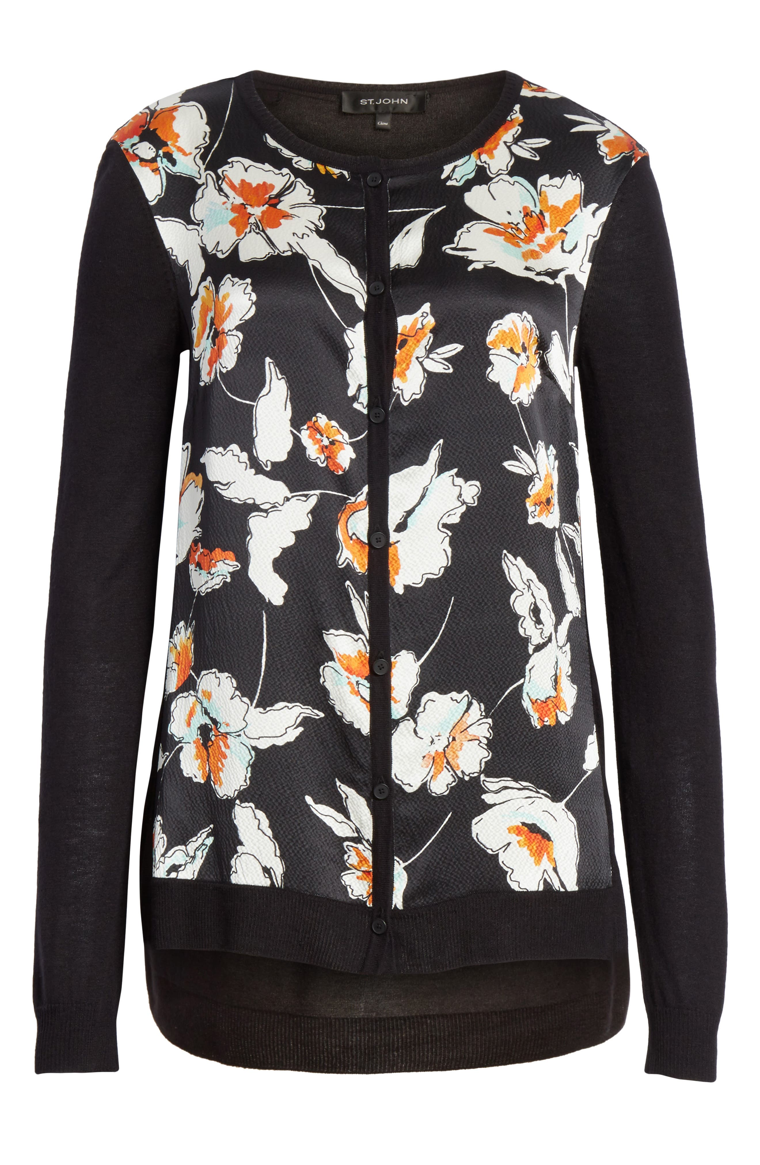 Modern Floral Hammered Satin & Jersey Knit Cardigan,                             Alternate thumbnail 7, color,                             CAVIAR MULTI