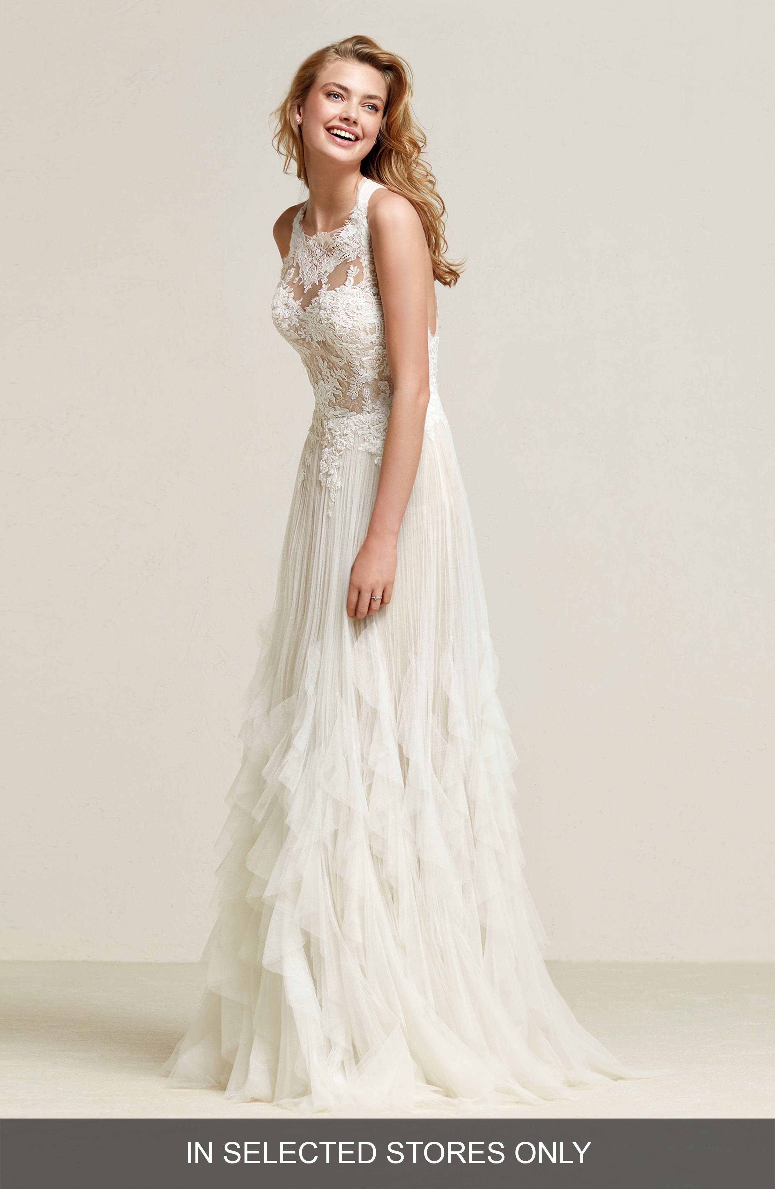 Draconia Lace & Pleated Tulle Gown,                             Main thumbnail 1, color,                             OFF WHITE